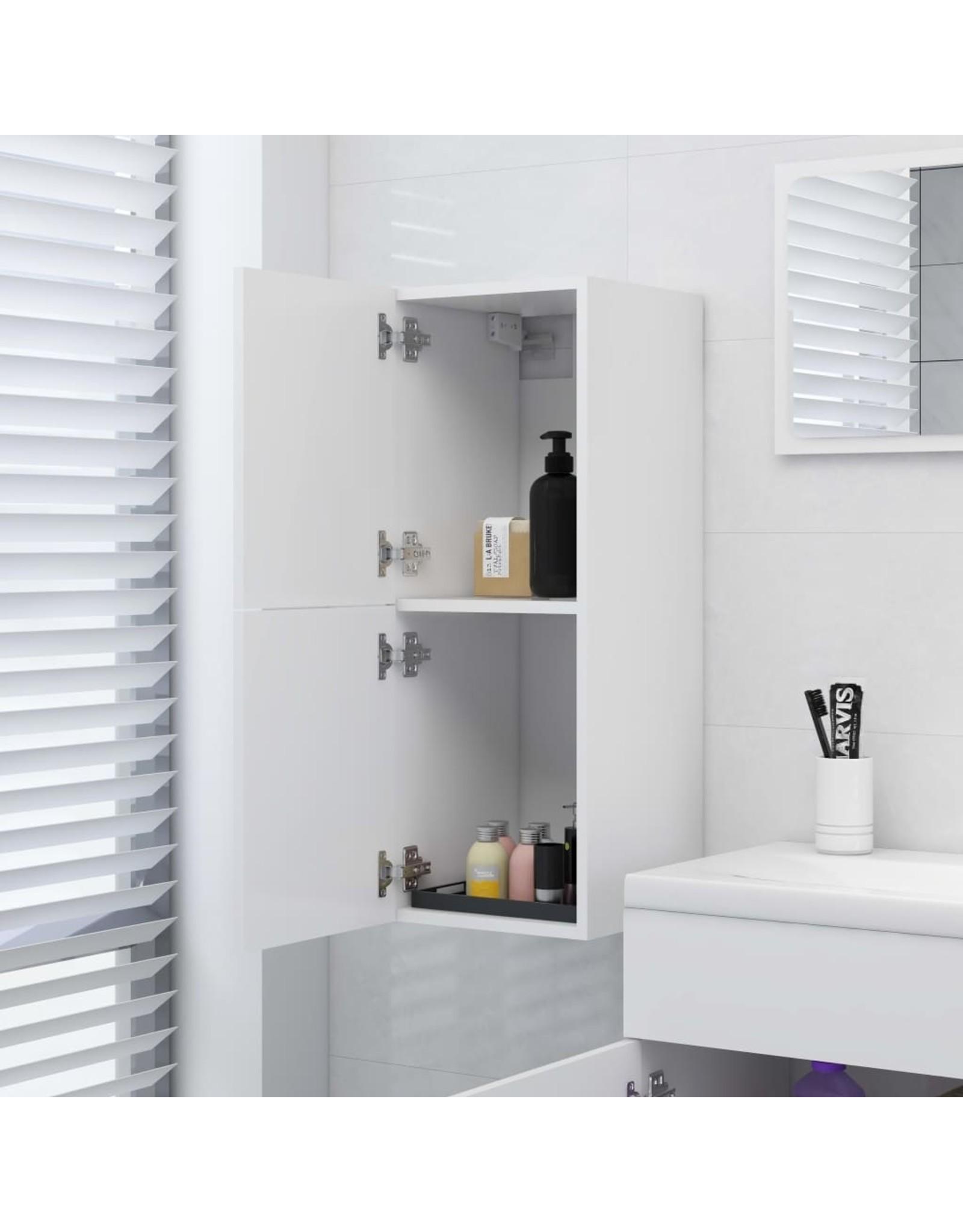 Badkamerkast 30x30x80 cm spaanplaat wit