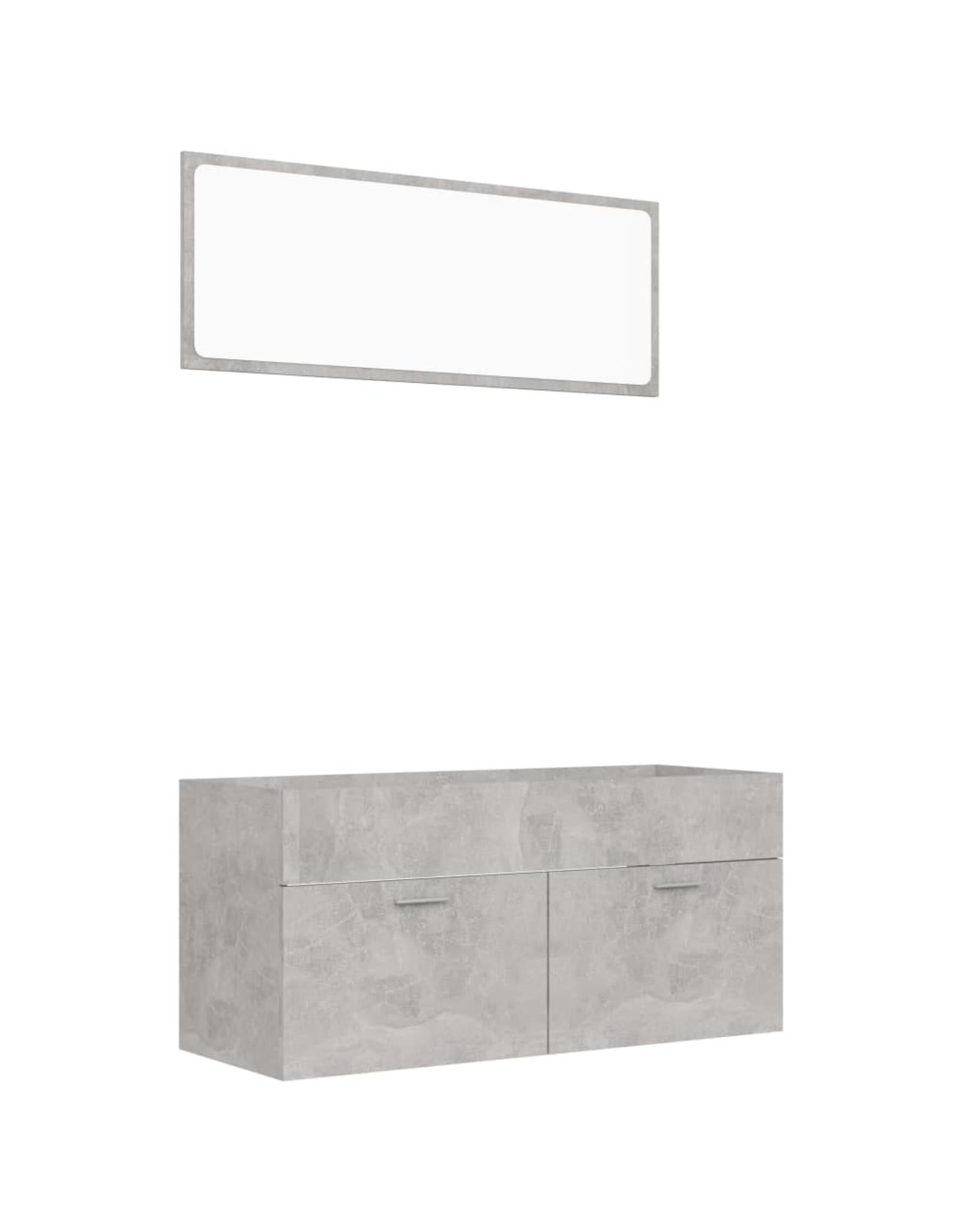 2-delige Badkamermeubelset spaanplaat betongrijs