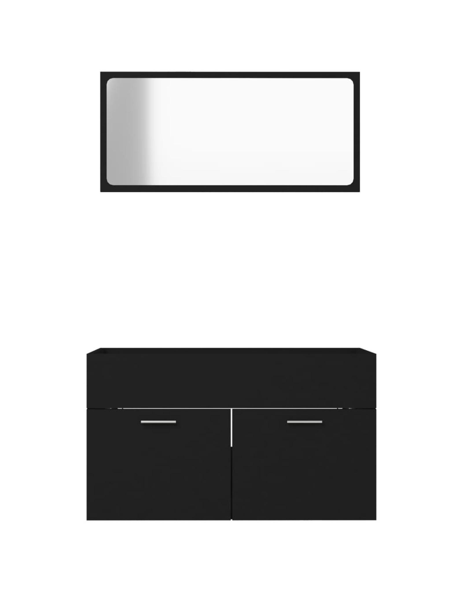 2-delige Badkamermeubelset spaanplaat zwart