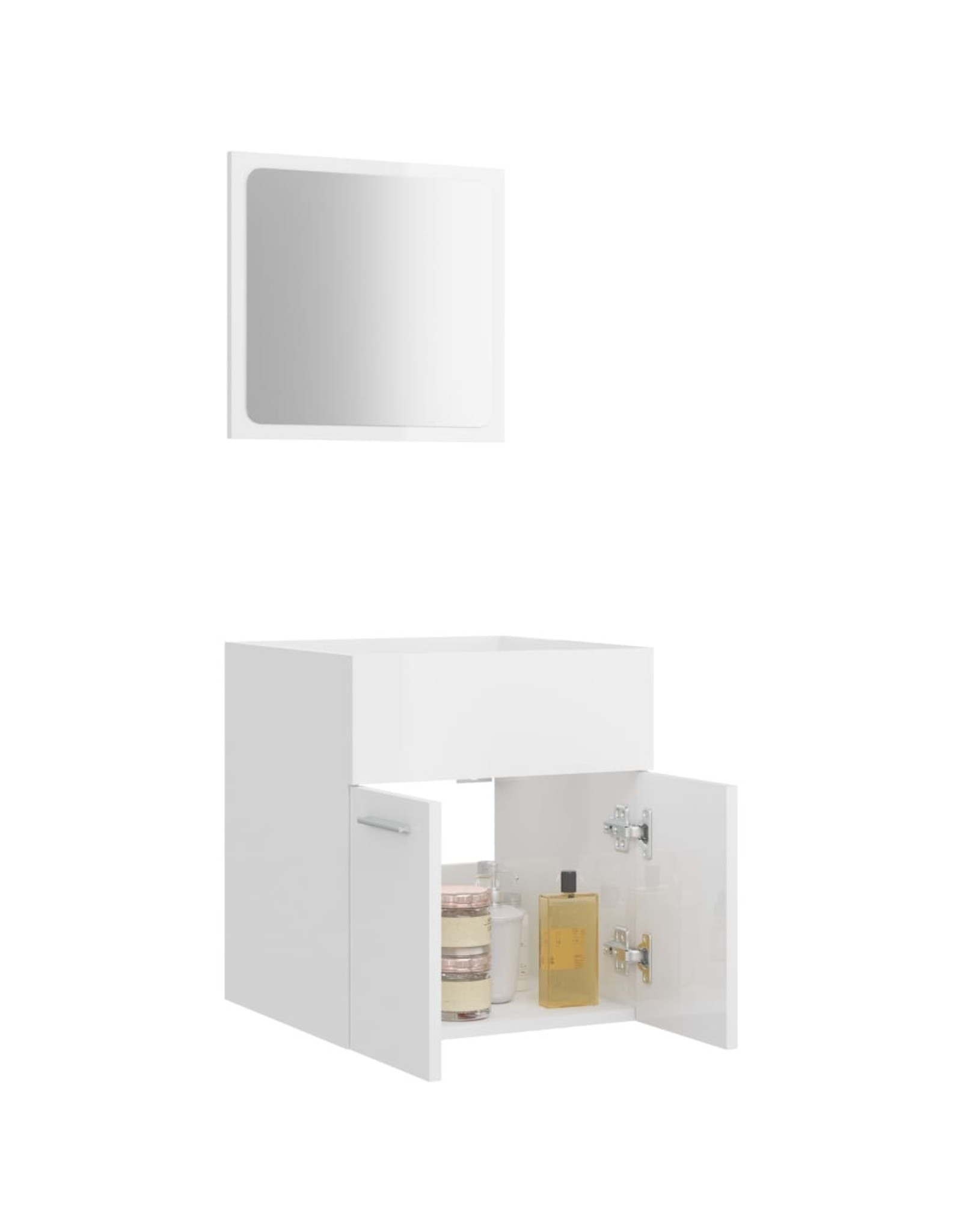 2-delige Badkamermeubelset spaanplaat hoogglans wit