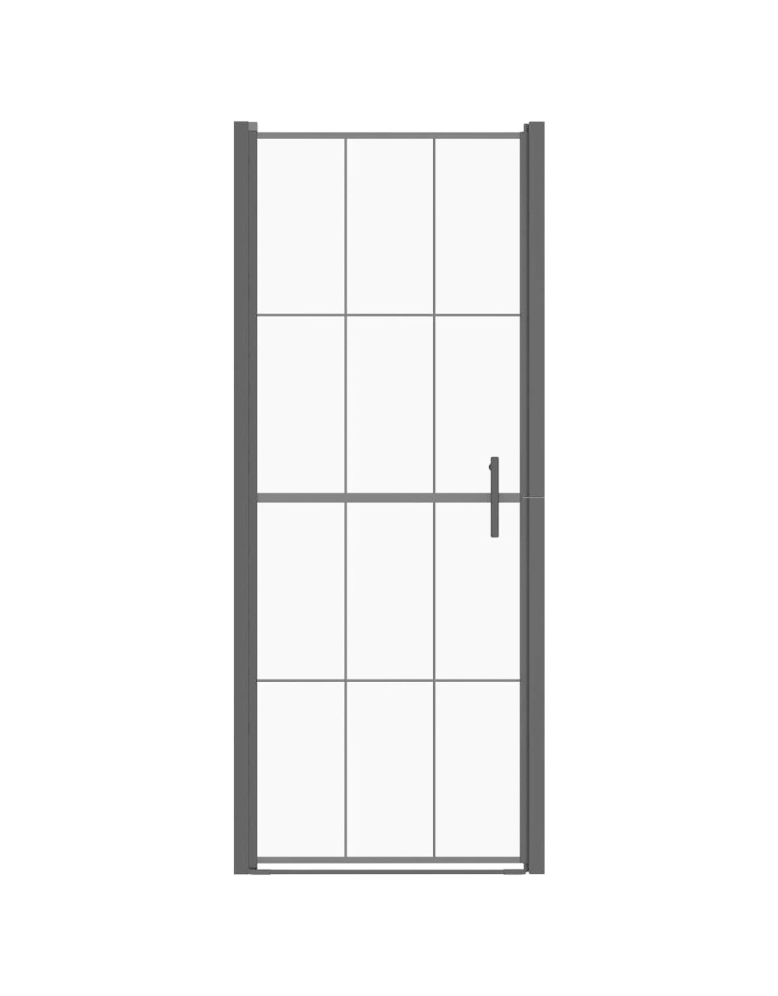 Douchedeur 81x195 cm gehard glas zwart
