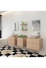 Badkamermeubelset 9-delig met kraan en wasbak beige