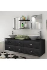 Badkamermeubelset 9-delig met kraan en wasbak zwart