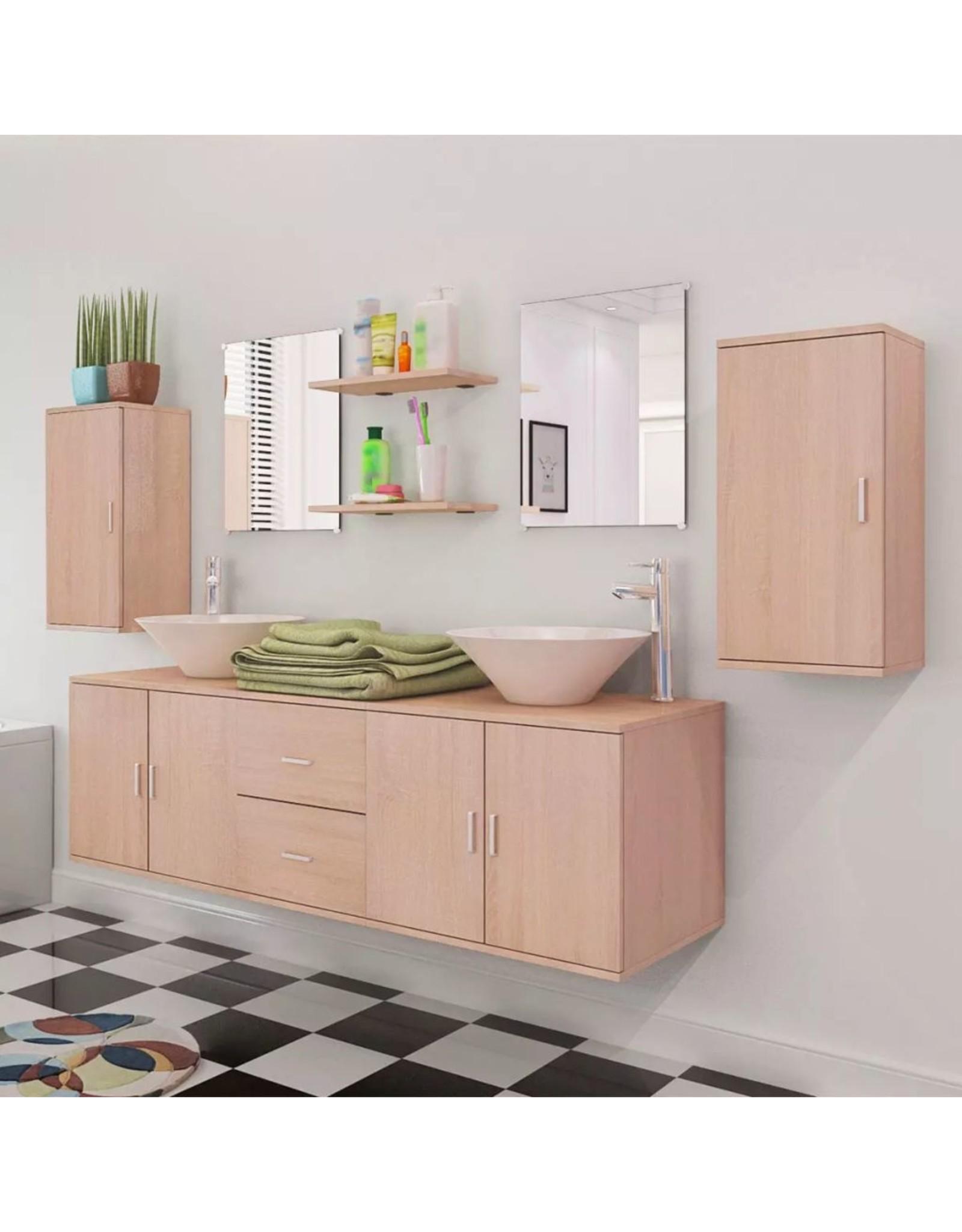 Badkamermeubelset 11-delig met kraan en wasbak beige