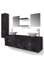 Badkamermeubelset 11-delig met kraan en wasbak zwart