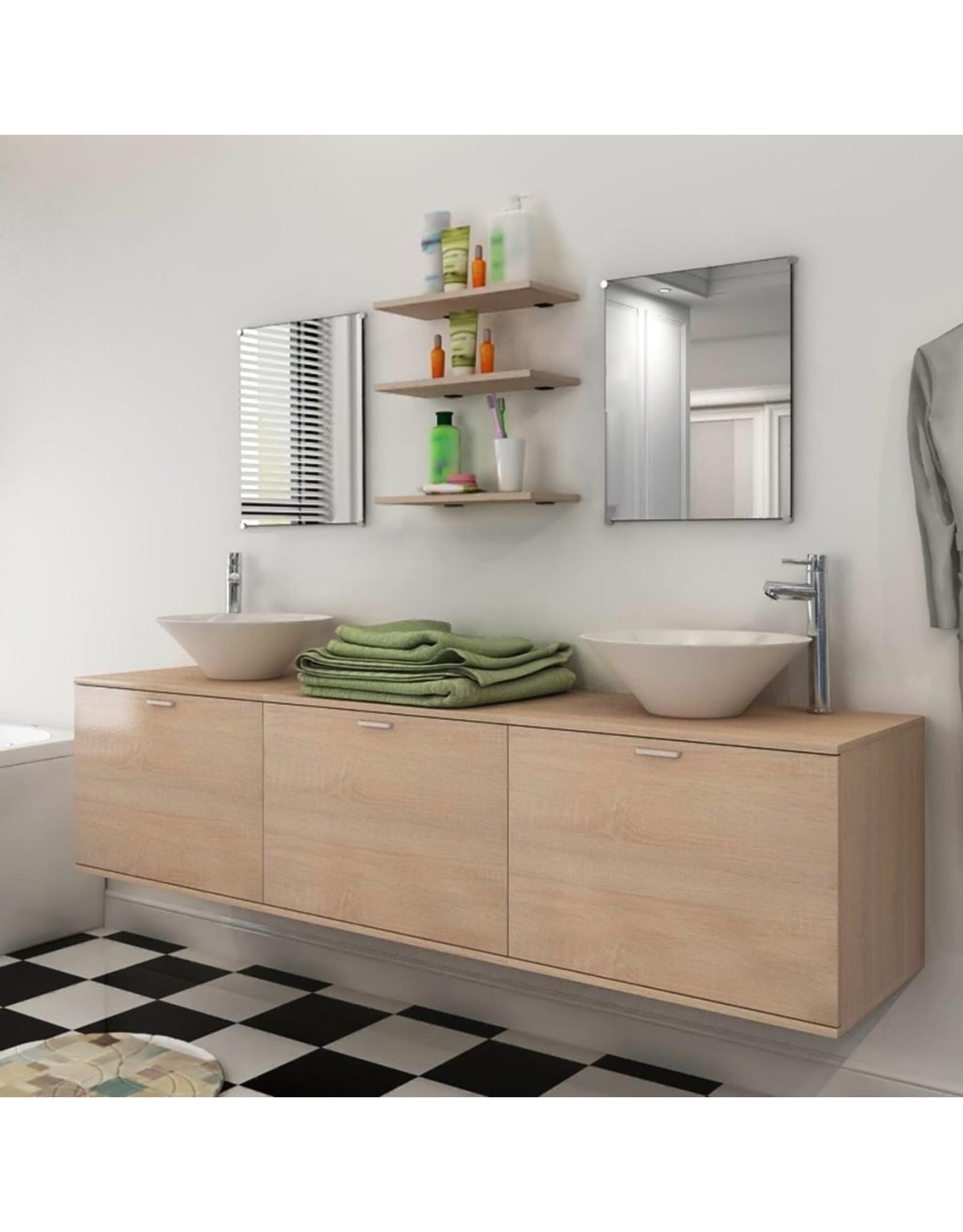 Badkamermeubelset met wasbak beige 8-delig
