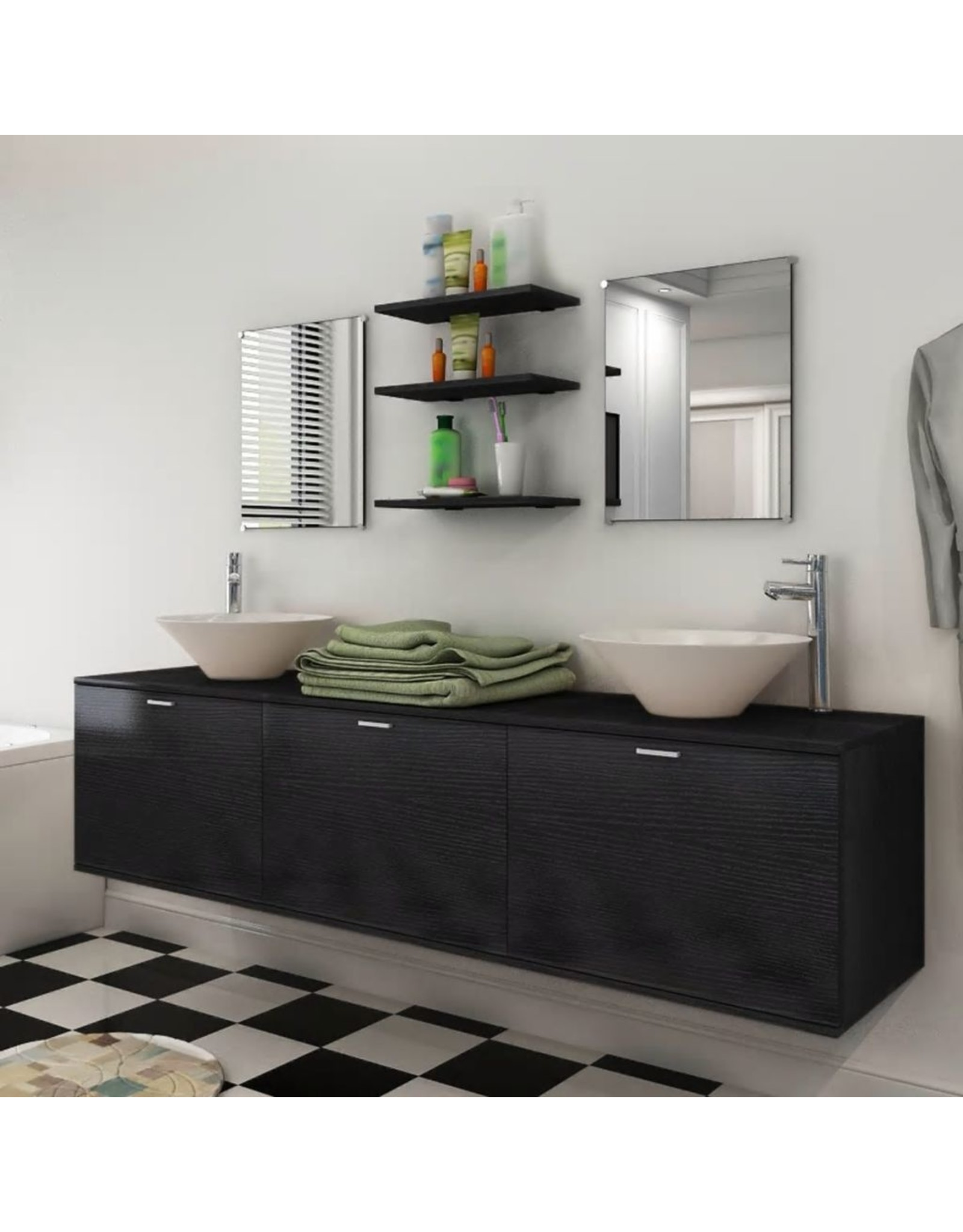 Badkamermeubelset met wasbak zwart 8-delig