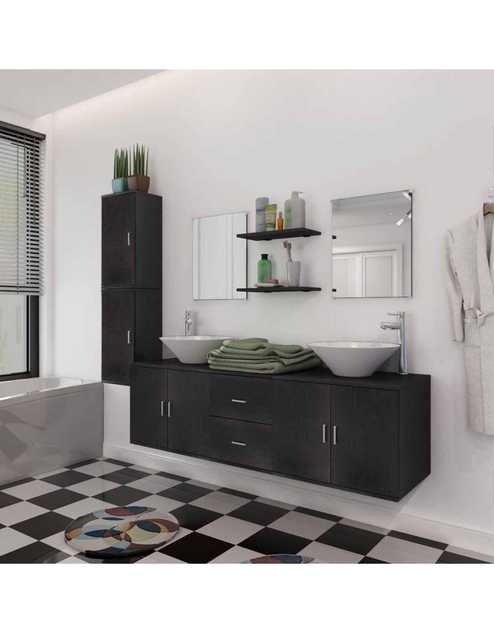 Badkamermeubelset met wasbak zwart 9-delig