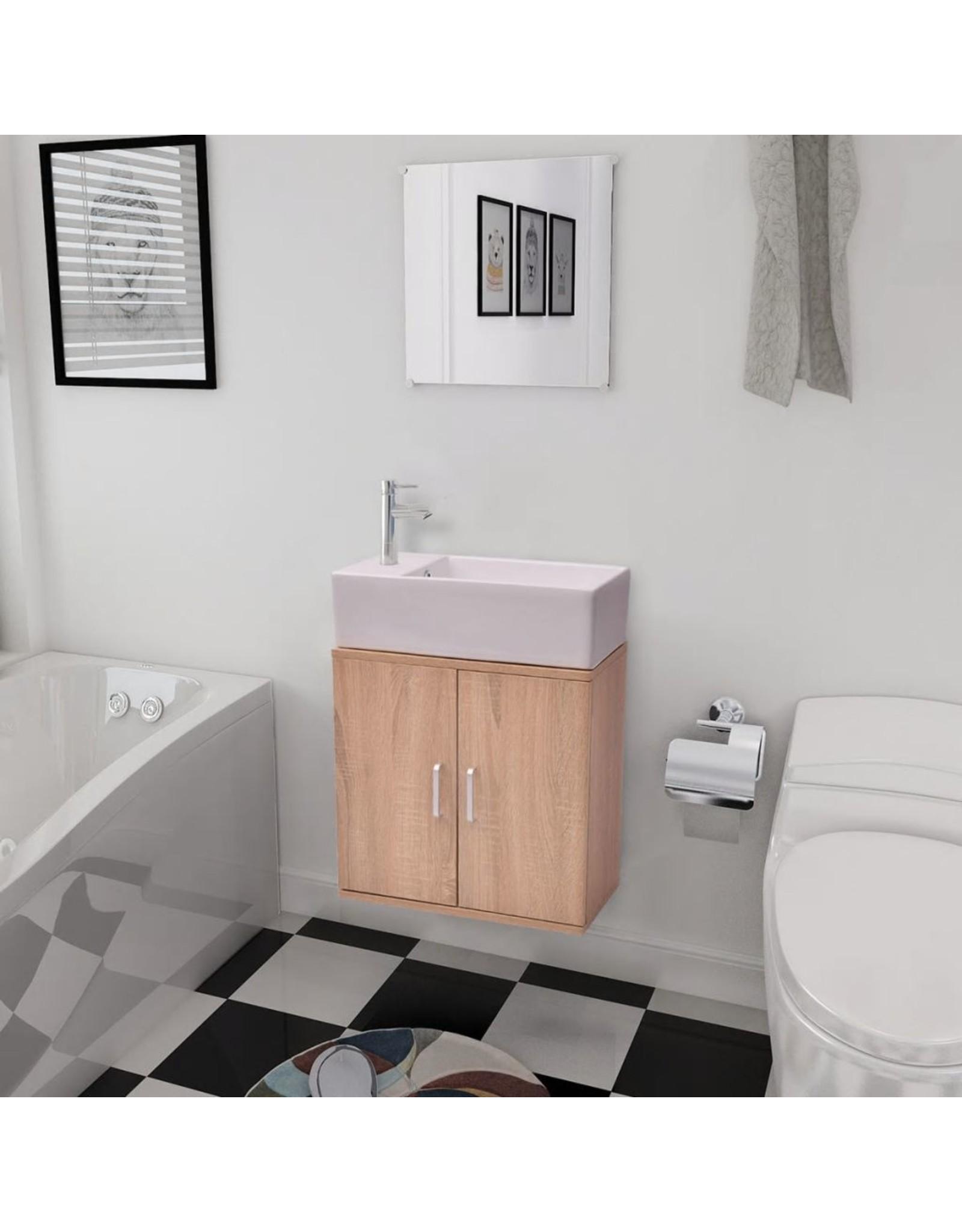 Badkamermeubelset met wasbak beige 3-dlg