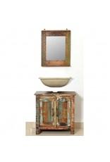 Badkamerset met kast en spiegel massief gerecycled hout