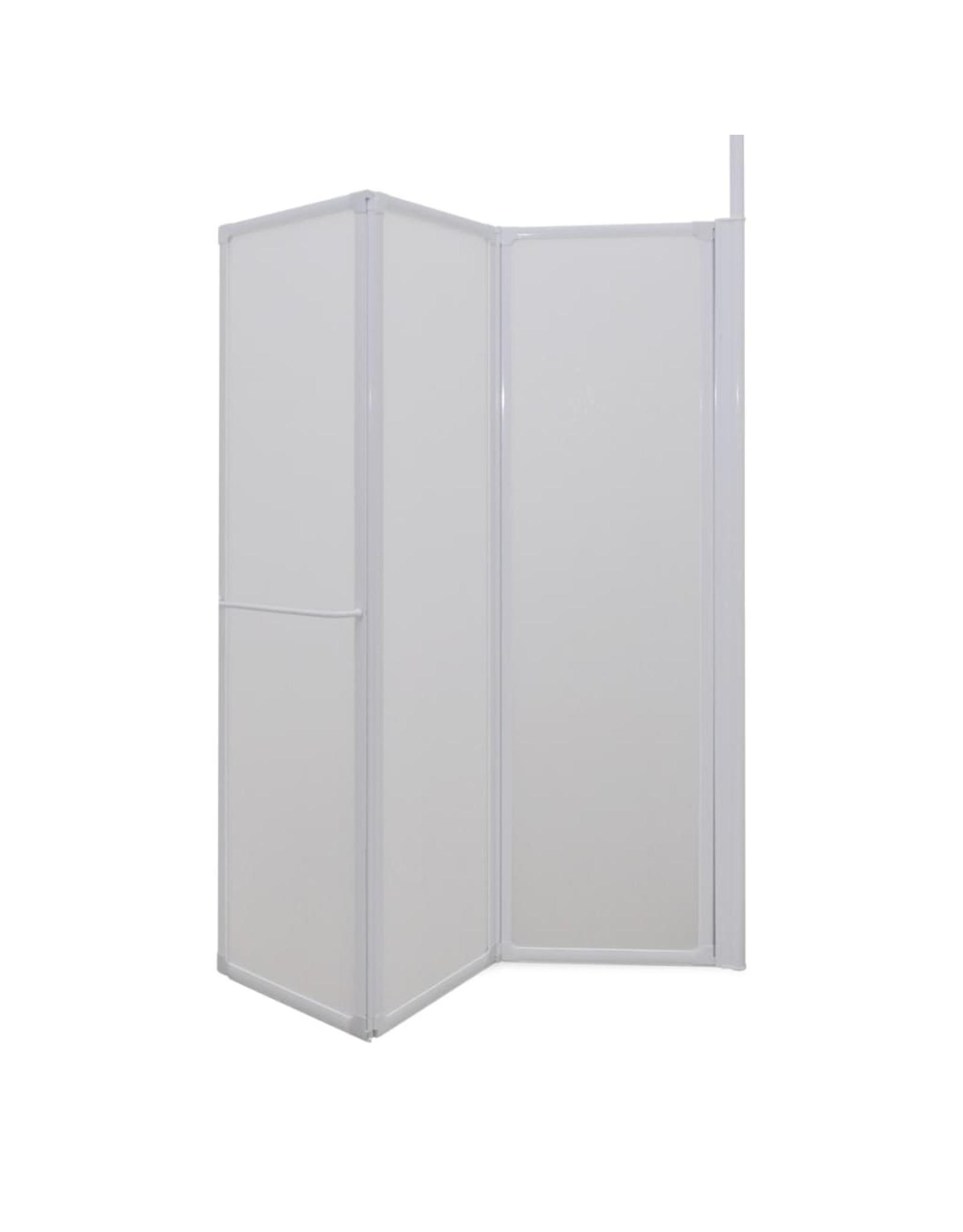 Douche-/badwand L-vormig 4 panelen 120x70x137 cm