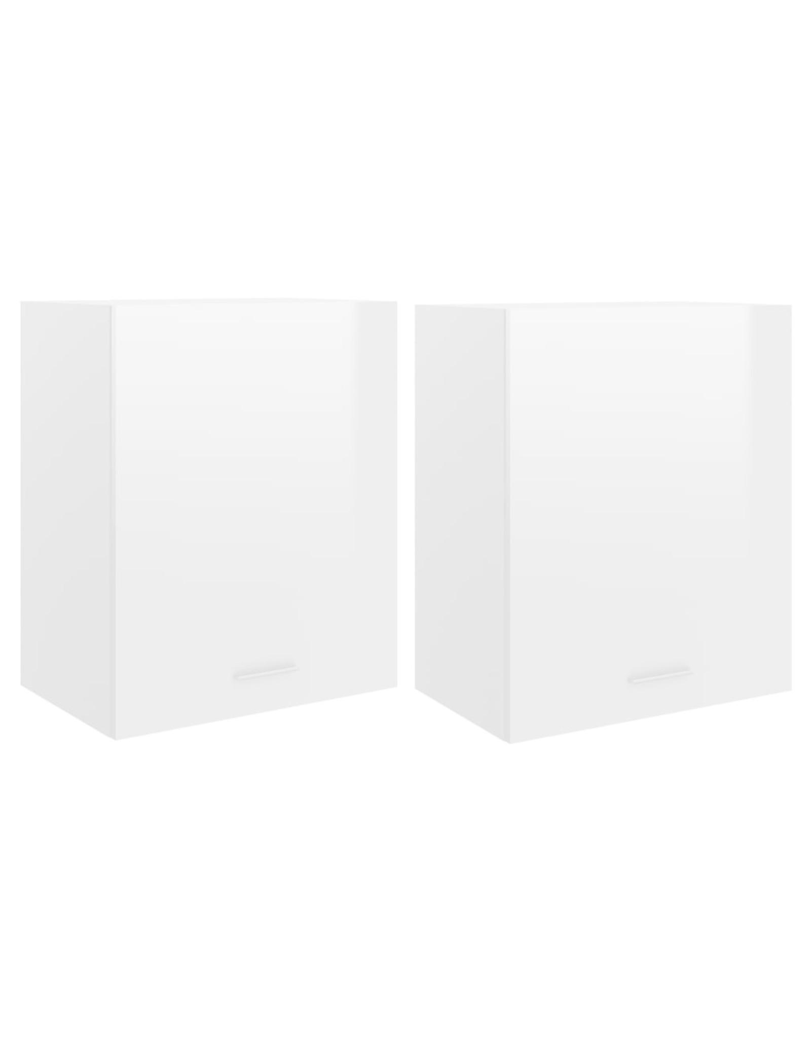 Hangkasten 2 st 50x31x60 cm spaanplaat hoogglans wit
