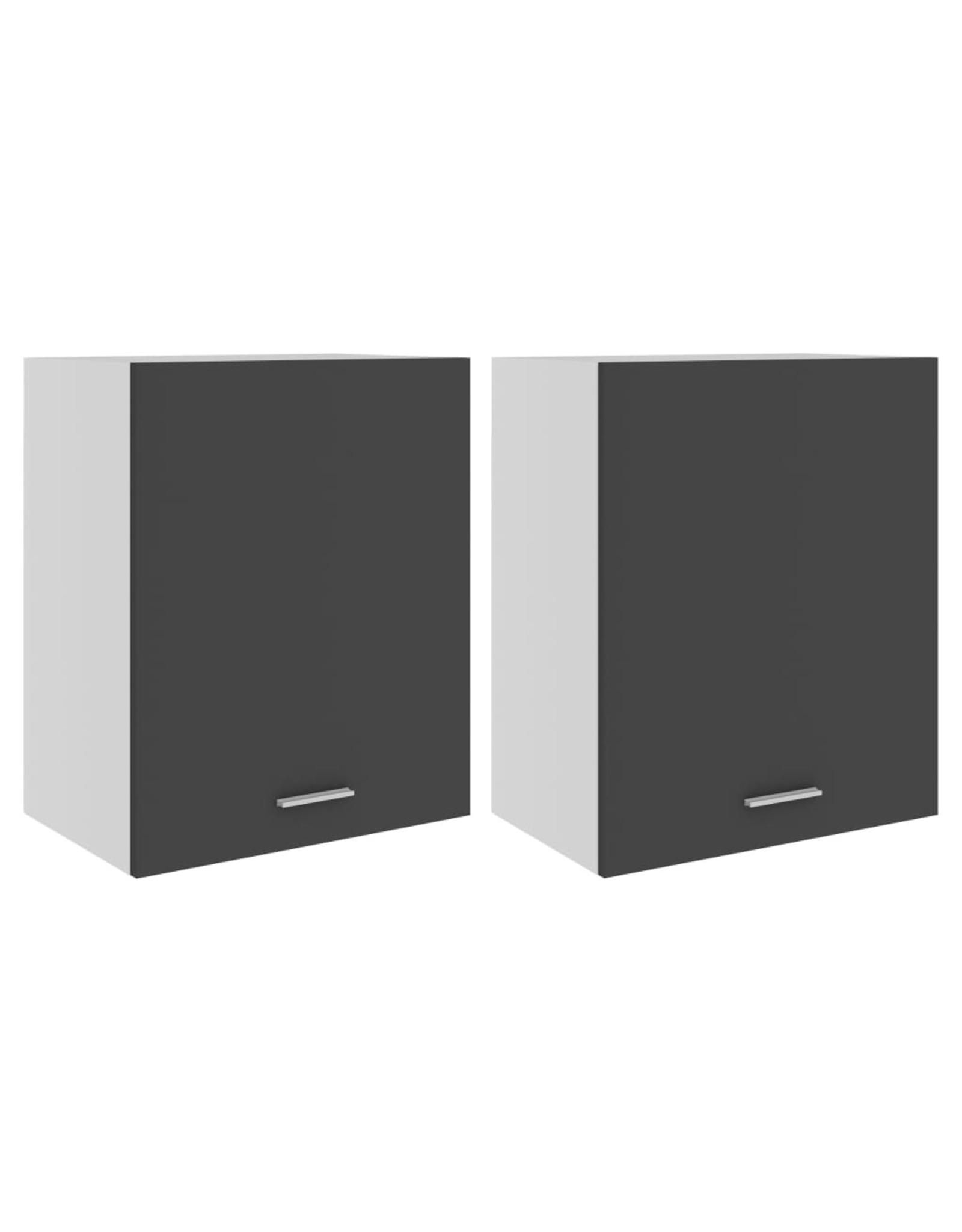 Hangkasten 2 st 50x31x60 cm spaanplaat grijs