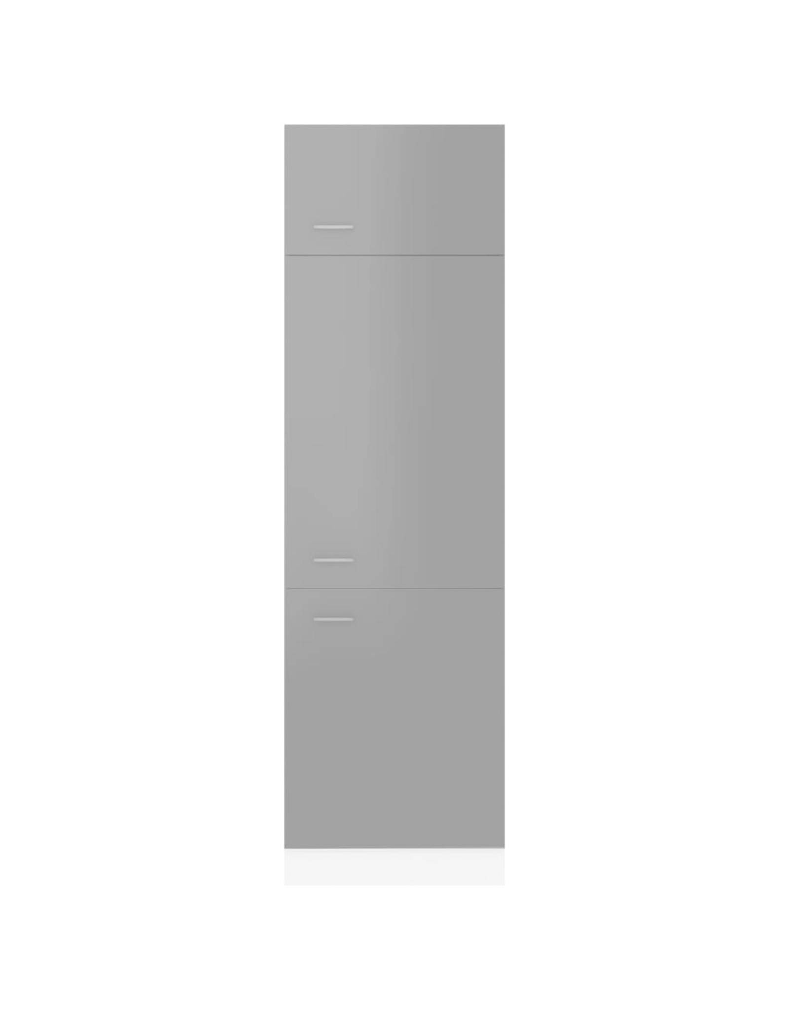 Koelkastkast 60x57x207 cm spaanplaat hoogglans grijs