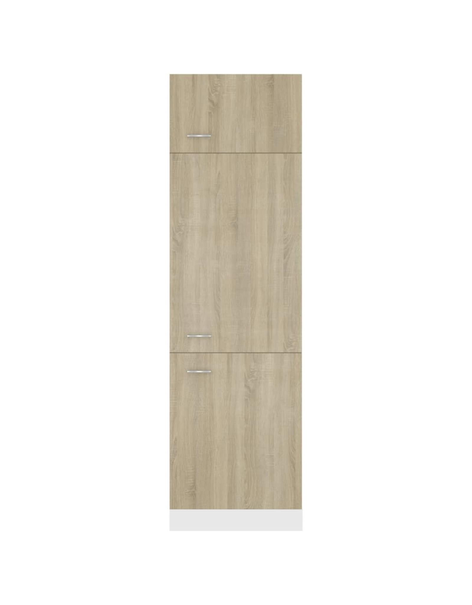 Koelkastkast 60x57x207 cm spaanplaat sonoma eikenkleurig