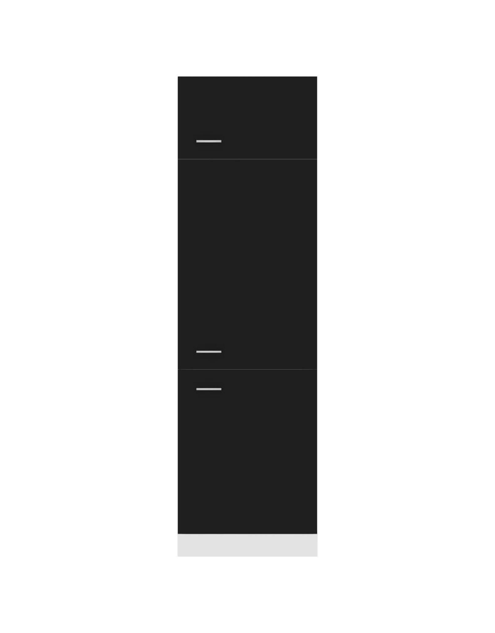 Koelkastkast 60x57x207 cm spaanplaat zwart