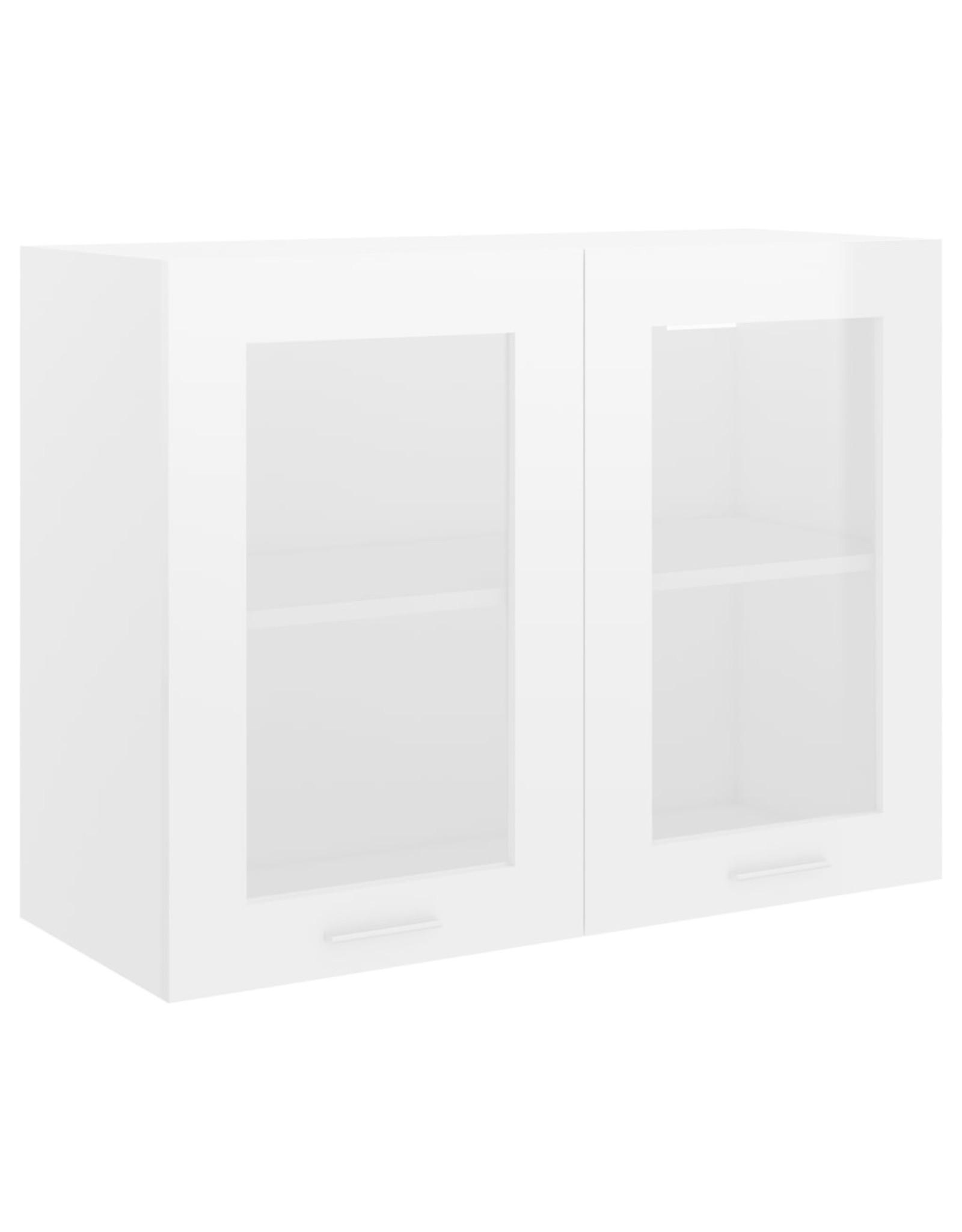 Hangkast 80x31x60 cm spaanplaat hoogglans wit