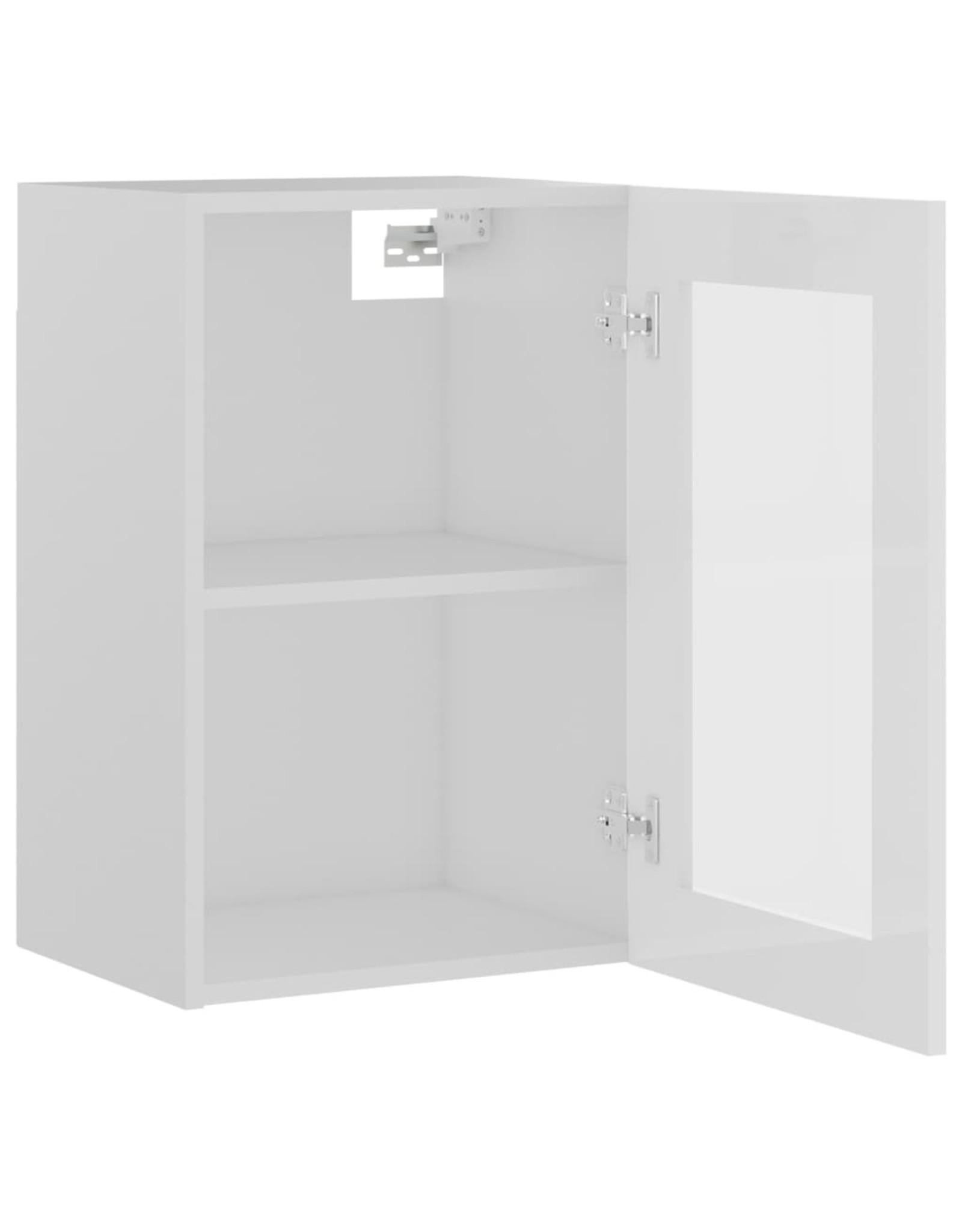 Hangkast 40x31x60 cm spaanplaat hoogglans wit