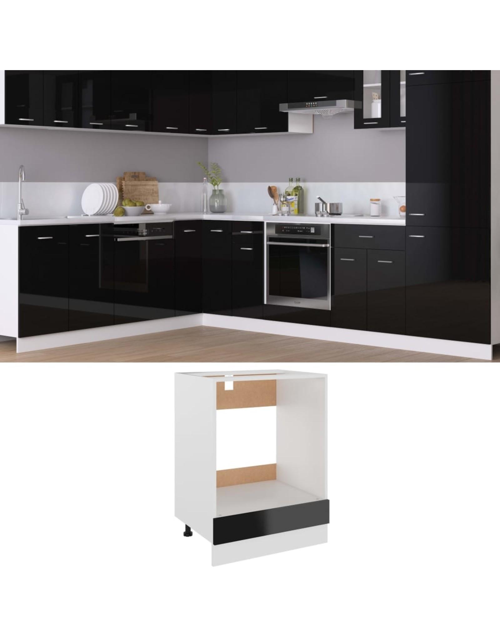 Ovenkast 60x46x81,5 cm spaanplaat hoogglans zwart