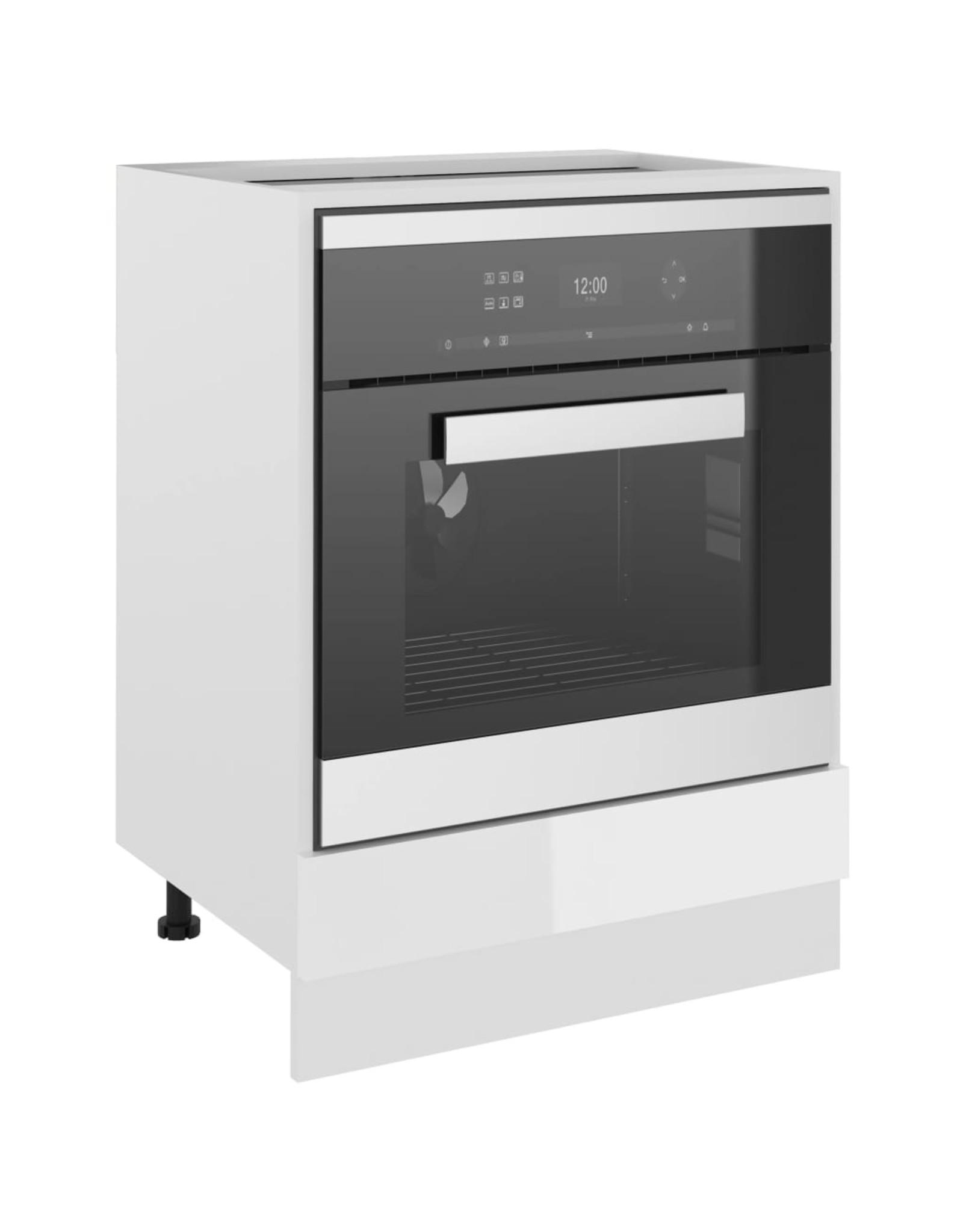 Ovenkast 60x46x81,5 cm spaanplaat hoogglans wit