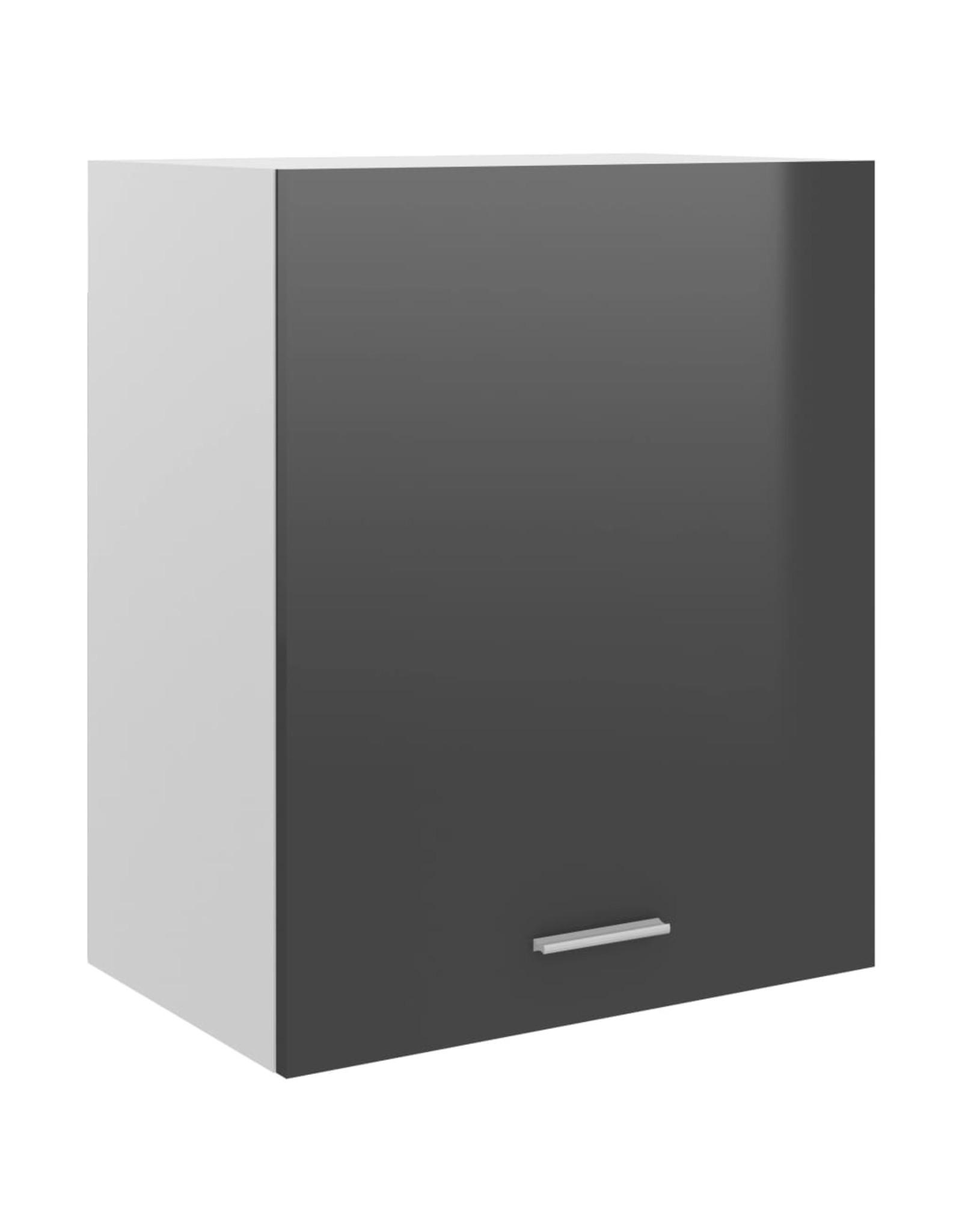 Hangkast 50x31x60 cm spaanplaat hoogglans grijs