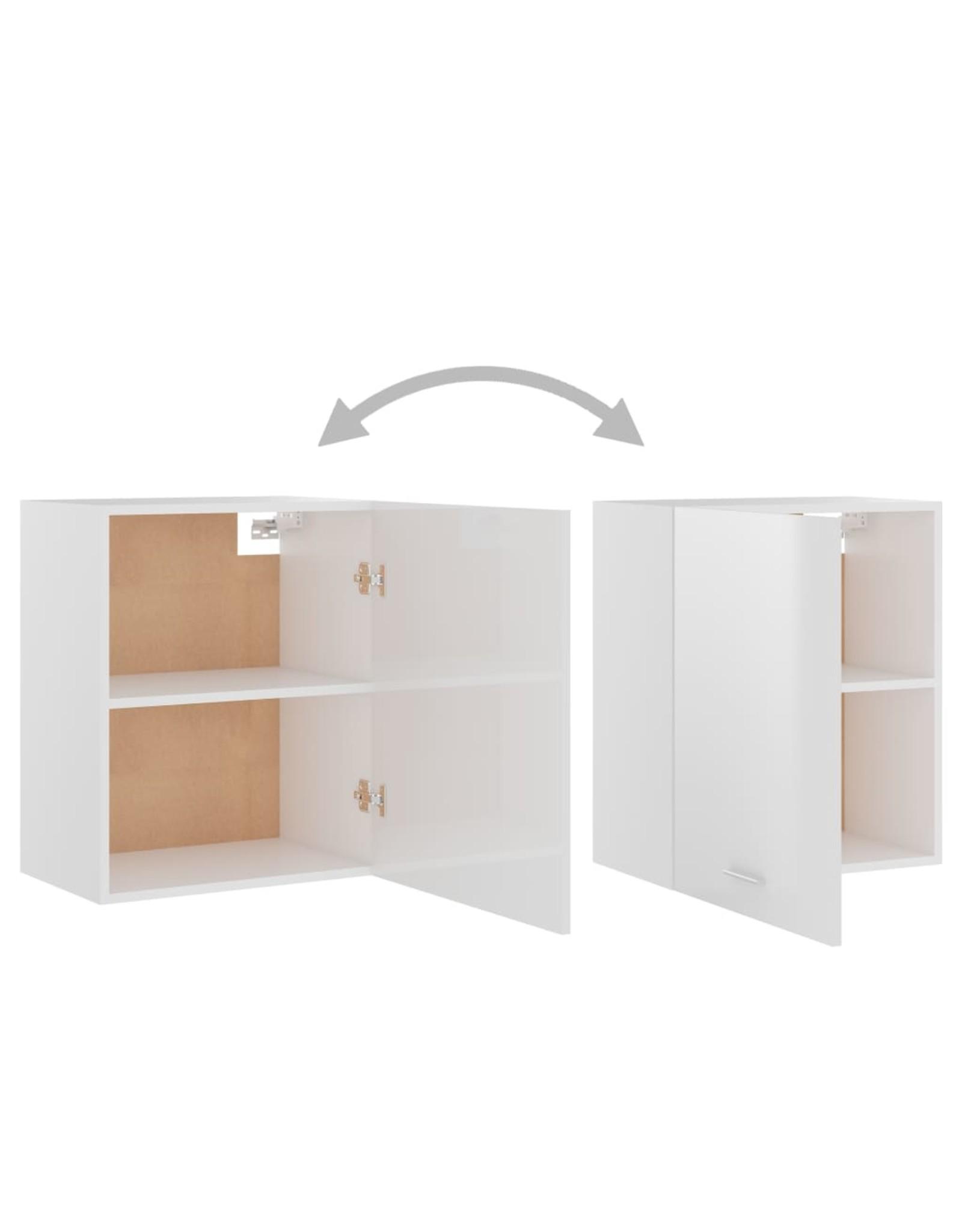 Hangkast 50x31x60 cm spaanplaat hoogglans wit
