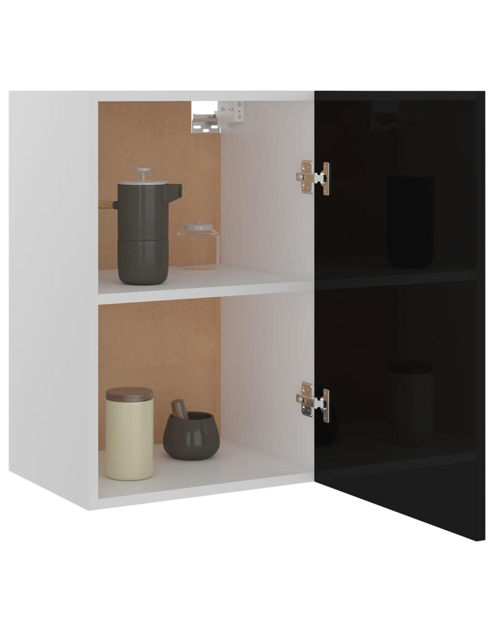 Hangkast 39,5x31x60 cm spaanplaat hoogglans zwart