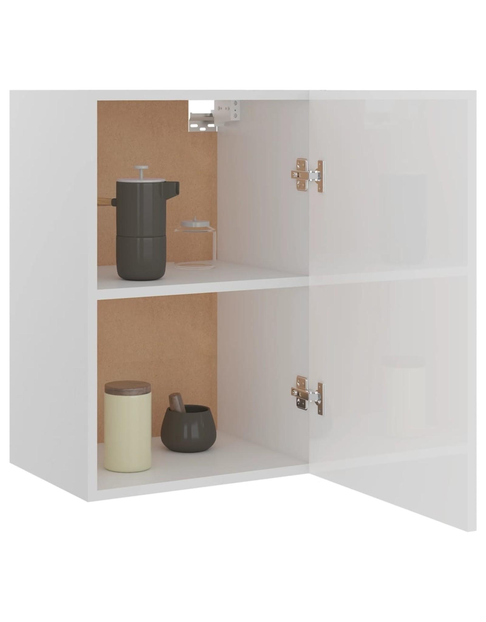 Hangkast 39,5x31x60 cm spaanplaat hoogglans wit