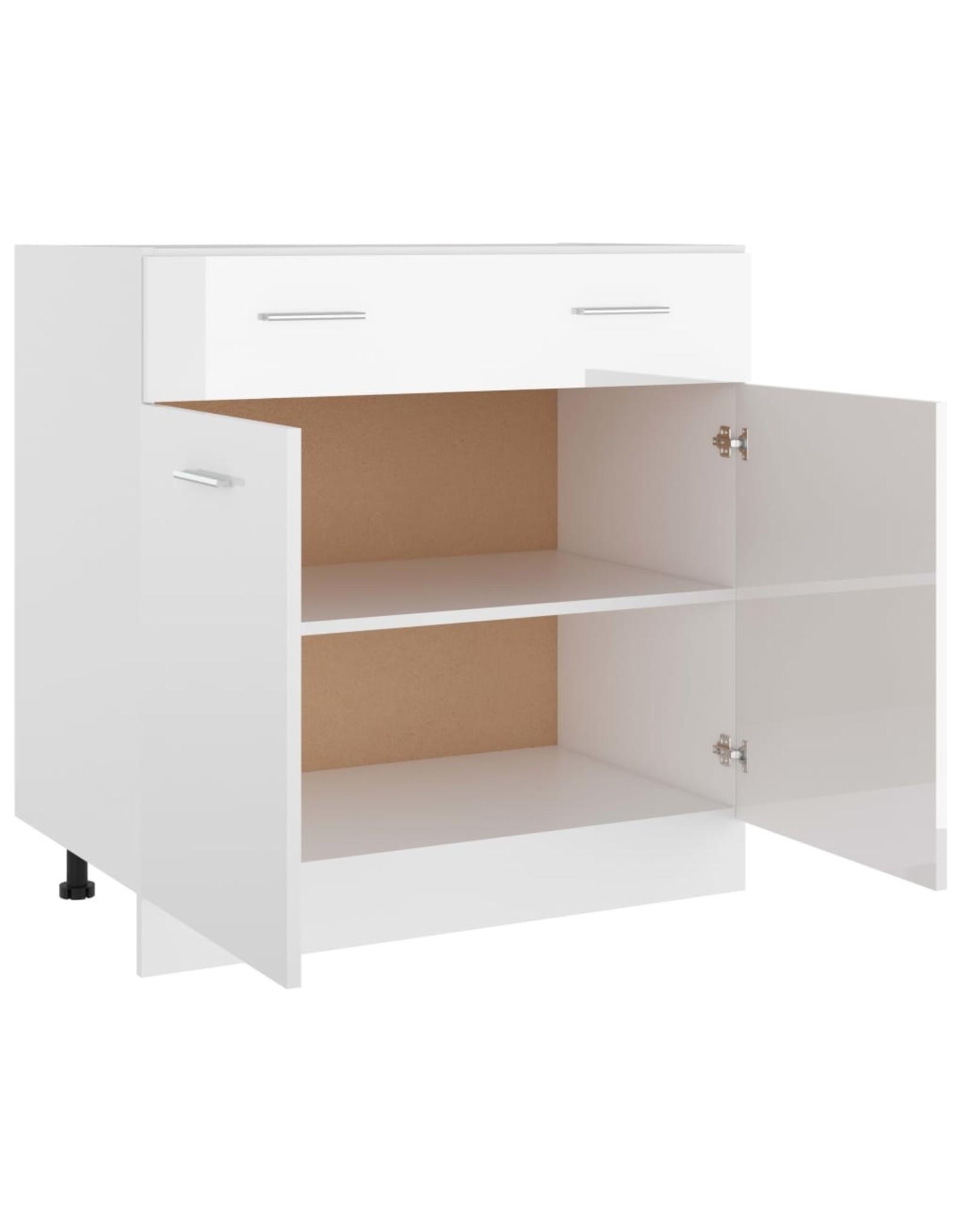 Onderkast met lade 80x46x81,5 cm spaanplaat hoogglans wit