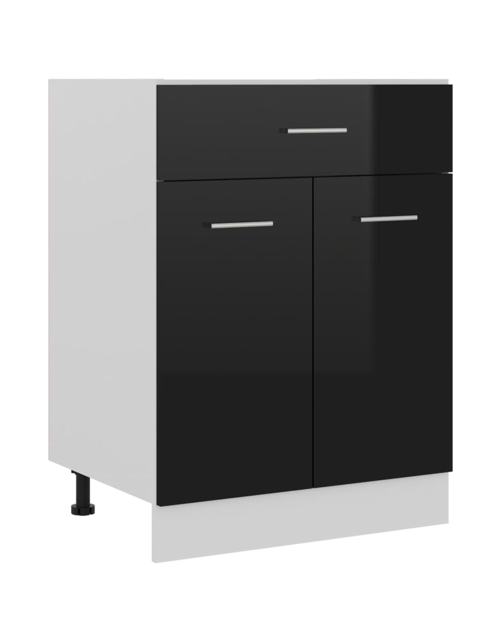 Onderkast met lade 60x46x81,5 cm spaanplaat hoogglans zwart