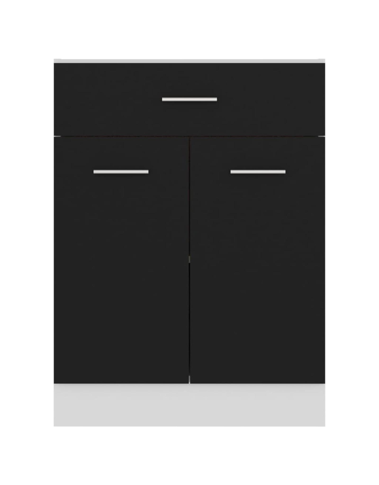 Onderkast met lade 60x46x81,5 cm spaanplaat zwart