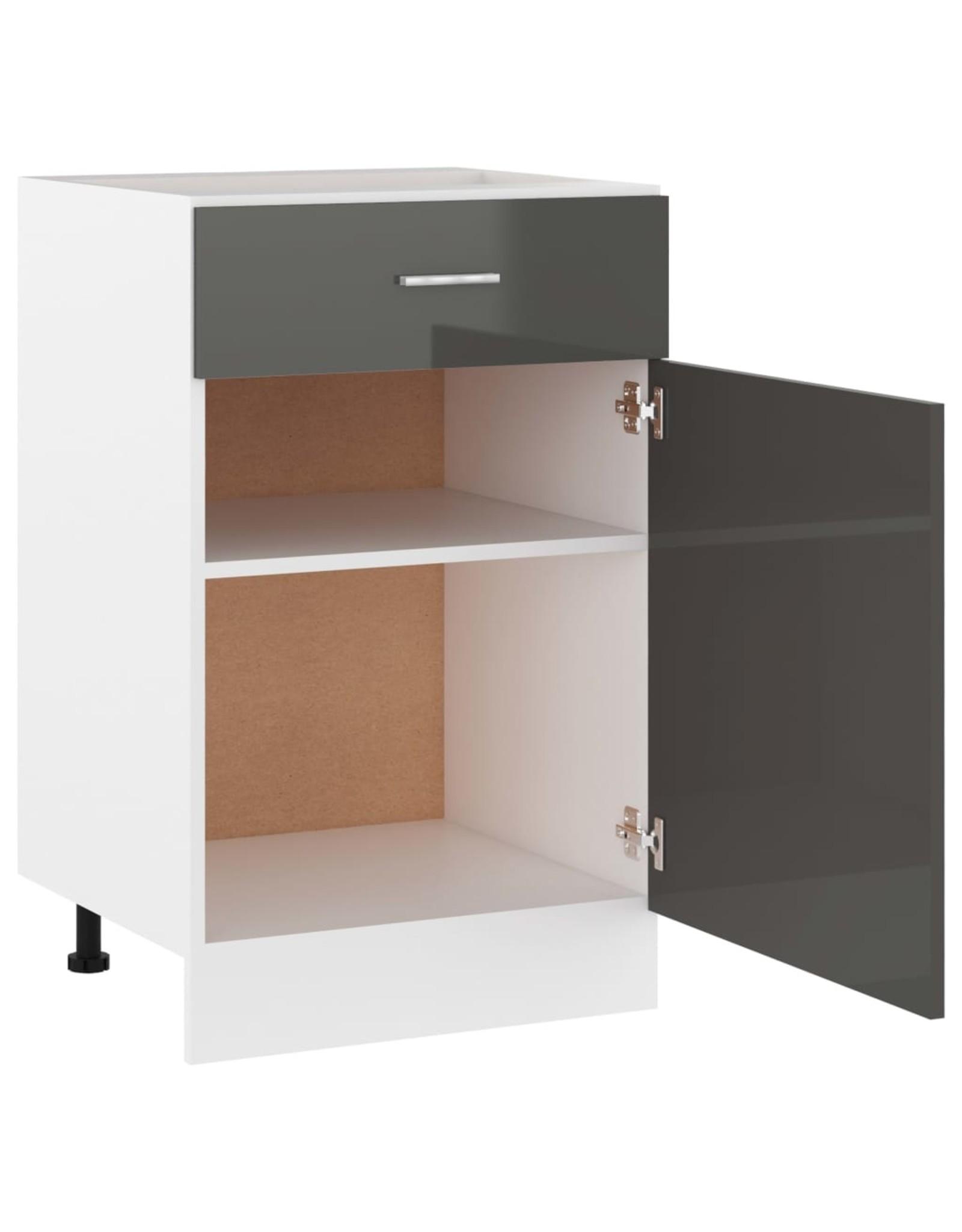 Onderkast met lade 50x46x81,5 cm spaanplaat hoogglans grijs