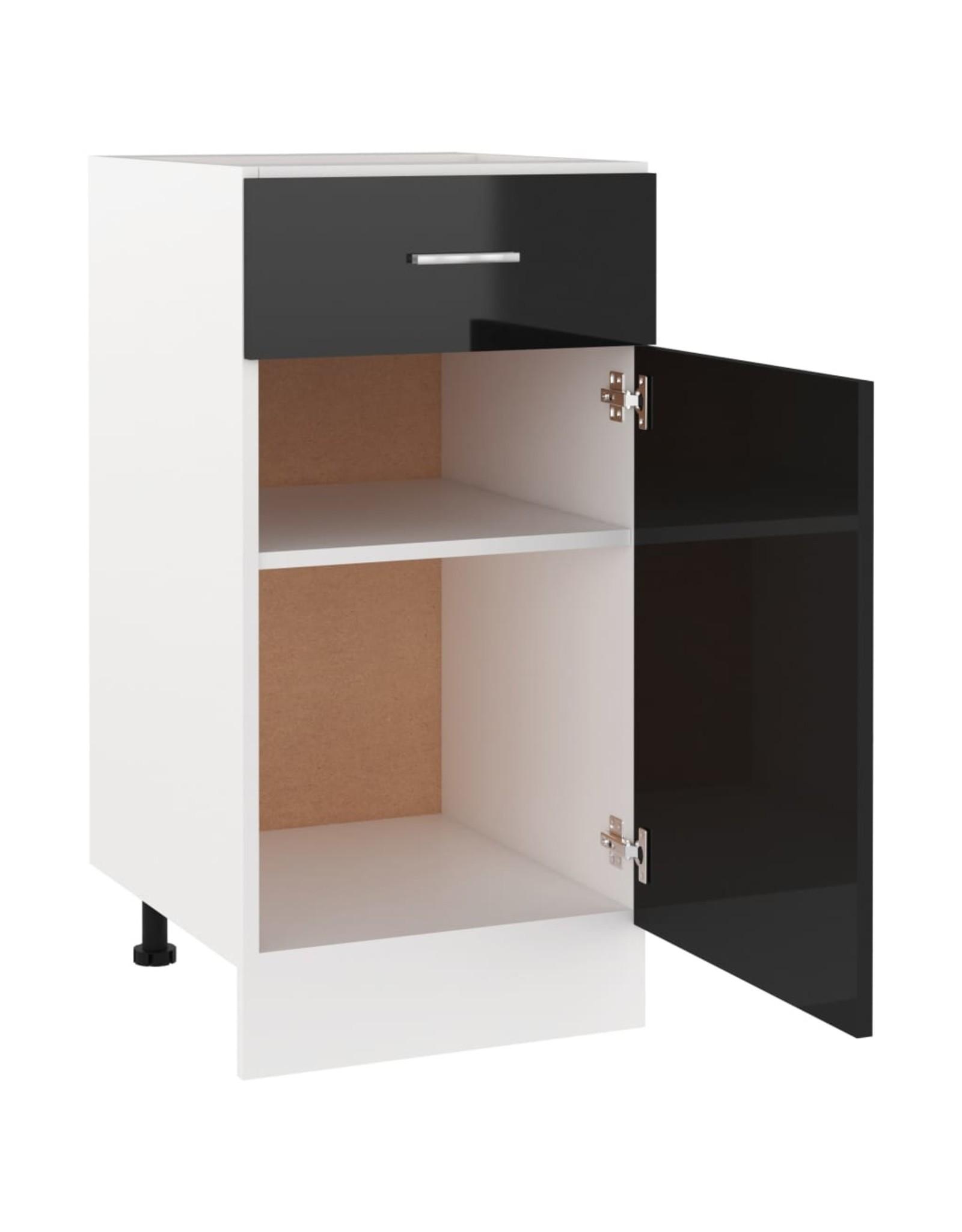 Onderkast met lade 40x46x81,5 cm spaanplaat hoogglans zwart
