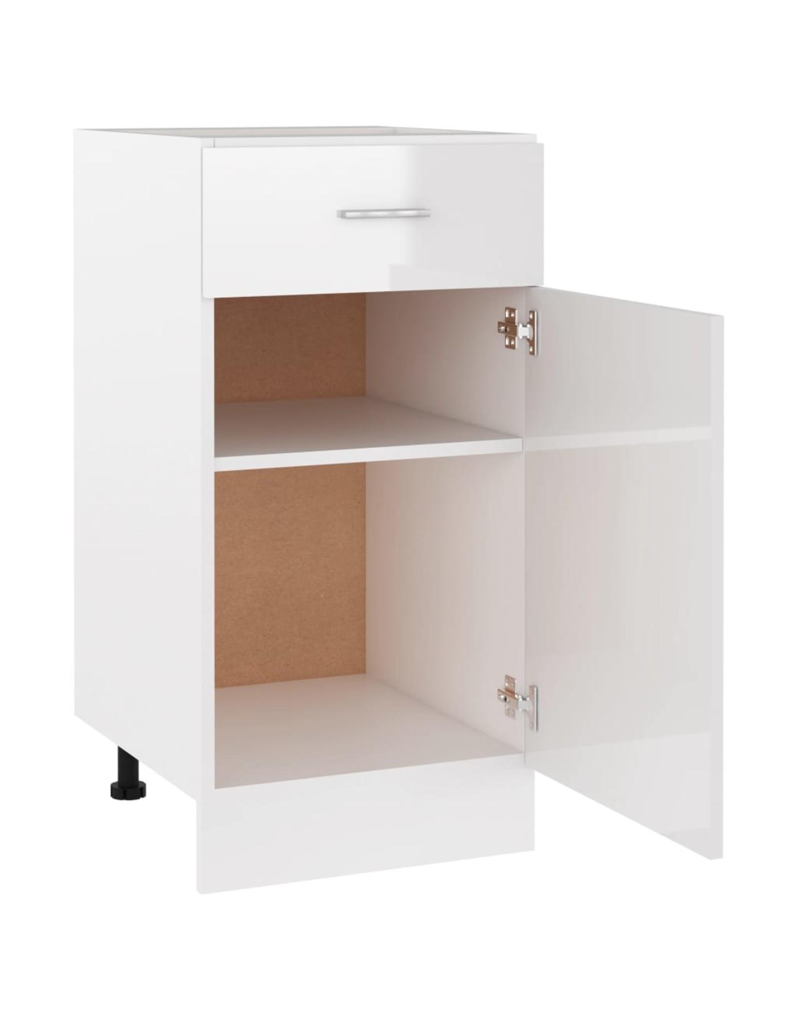 Onderkast met lade 40x46x81,5 cm spaanplaat hoogglans wit