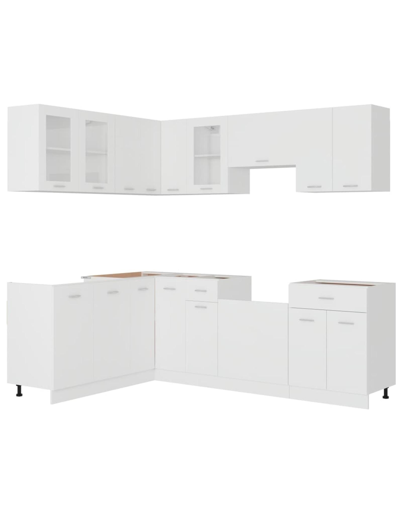11-delige Keukenkastenset spaanplaat wit