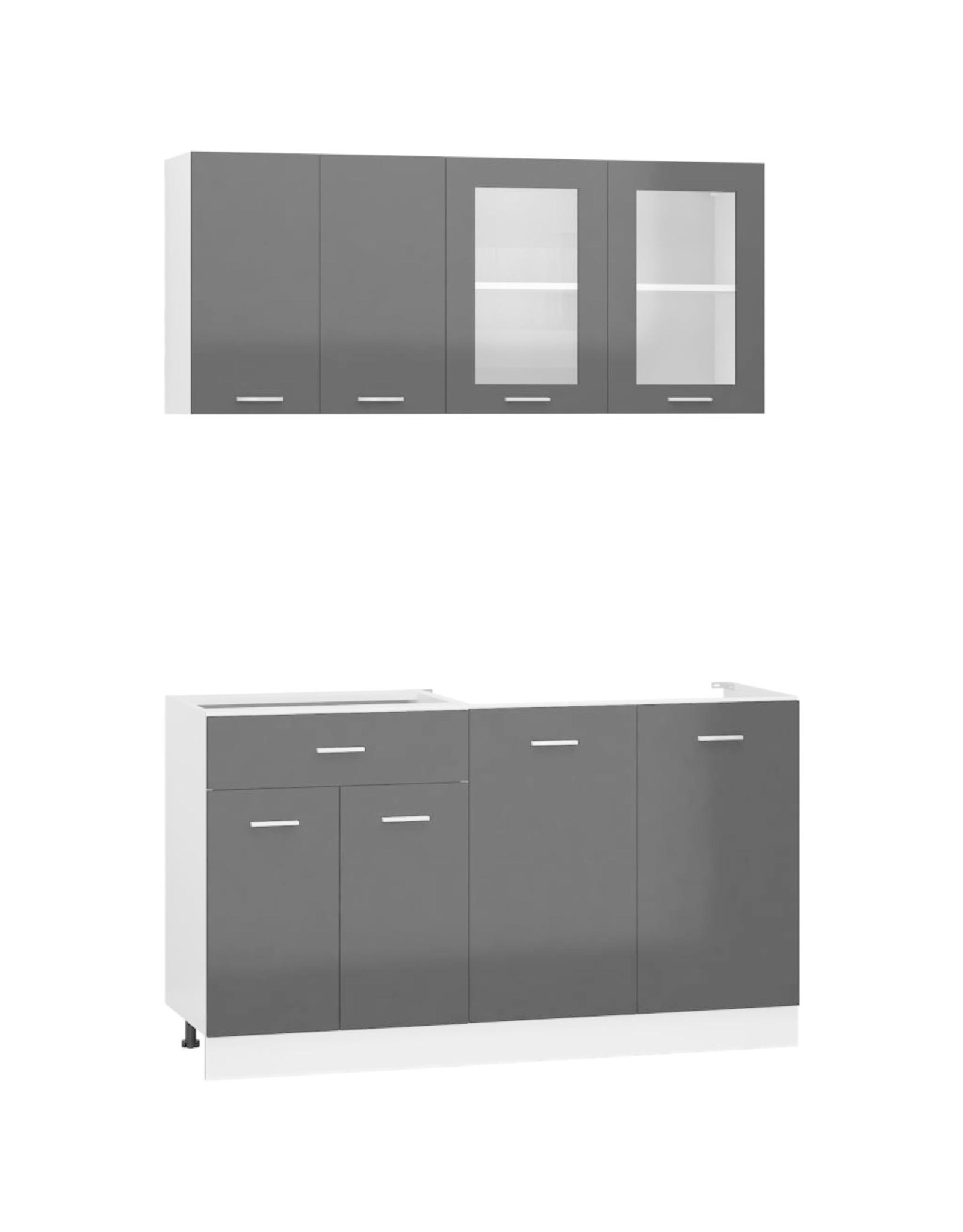 4-delige Keukenkastenset spaanplaat hoogglans zwart