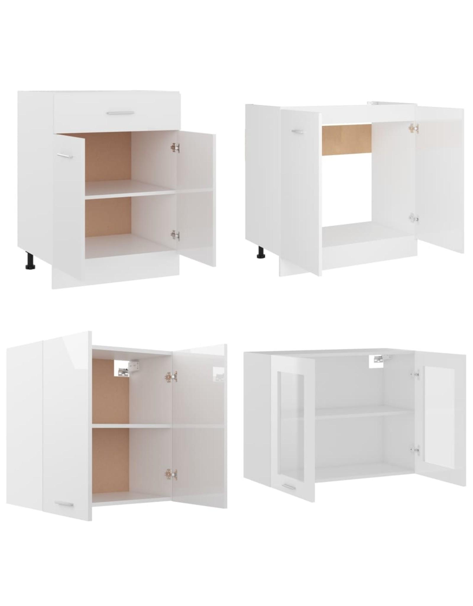4-delige Keukenkastenset spaanplaat hoogglans wit