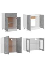 4-delige Keukenkastenset spaanplaat betongrijs