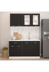 4-delige Keukenkastenset spaanplaat zwart