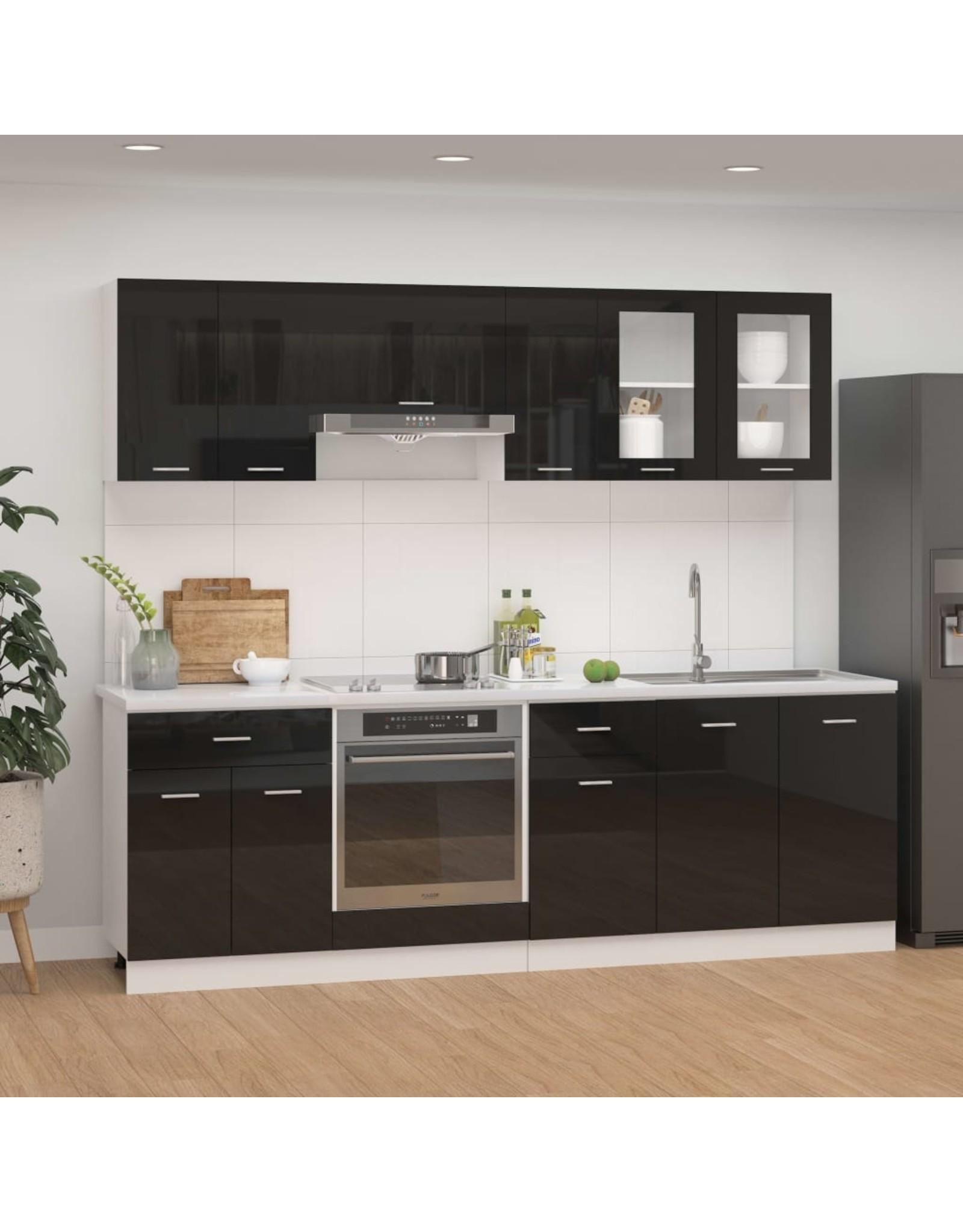 8-delige Keukenkastenset spaanplaat hoogglans zwart