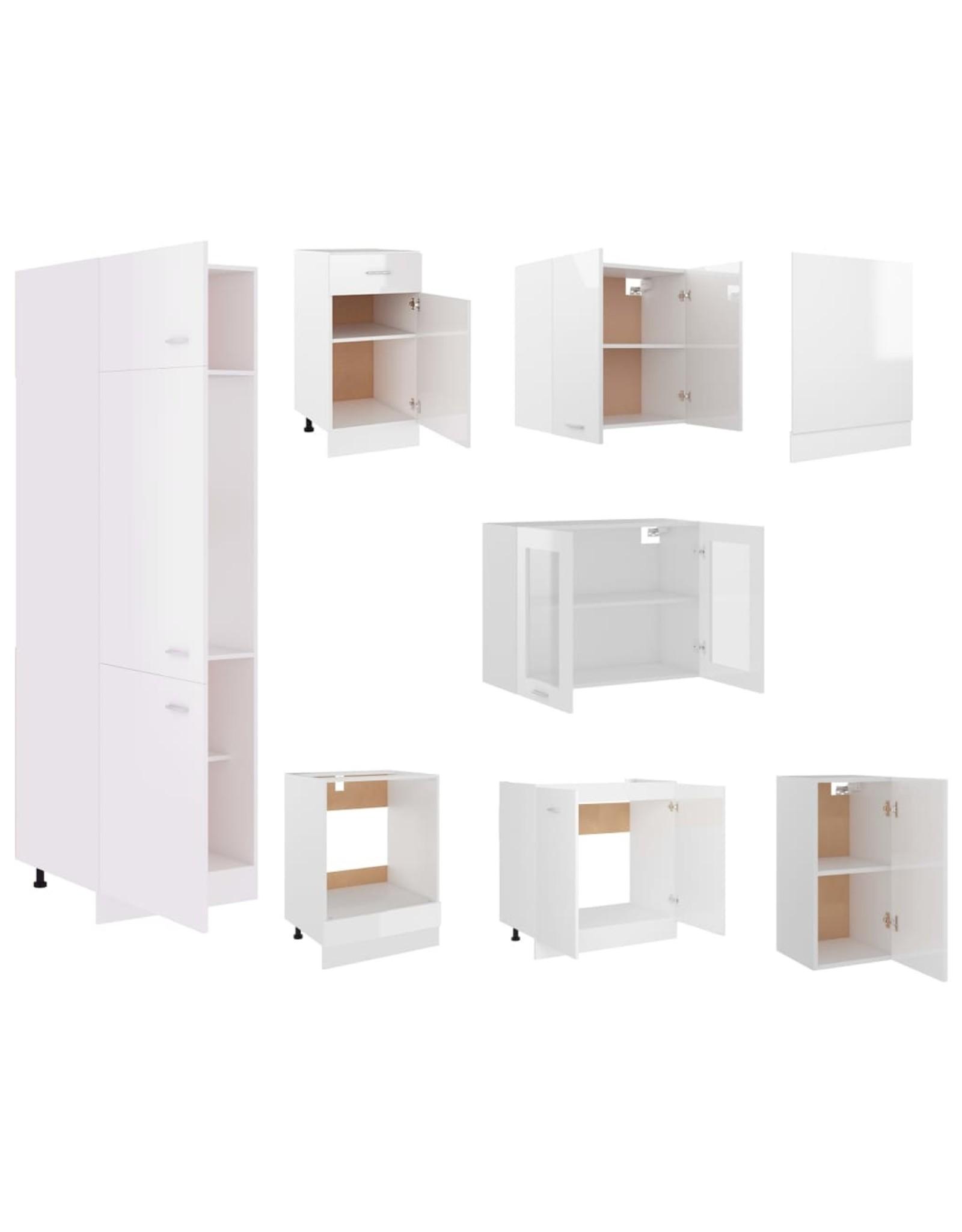 8-delige Keukenkastenset spaanplaat hoogglans wit
