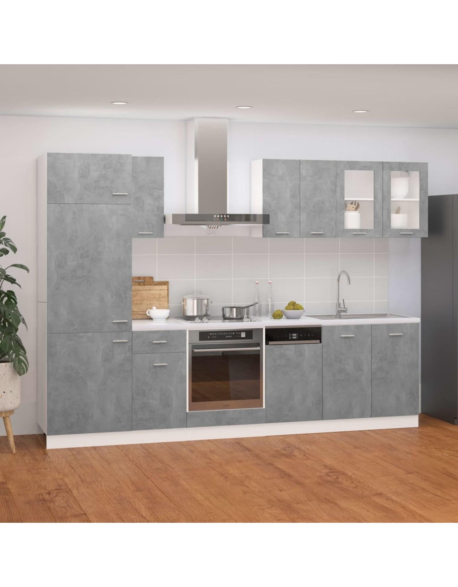 8-delige Keukenkastenset spaanplaat betongrijs