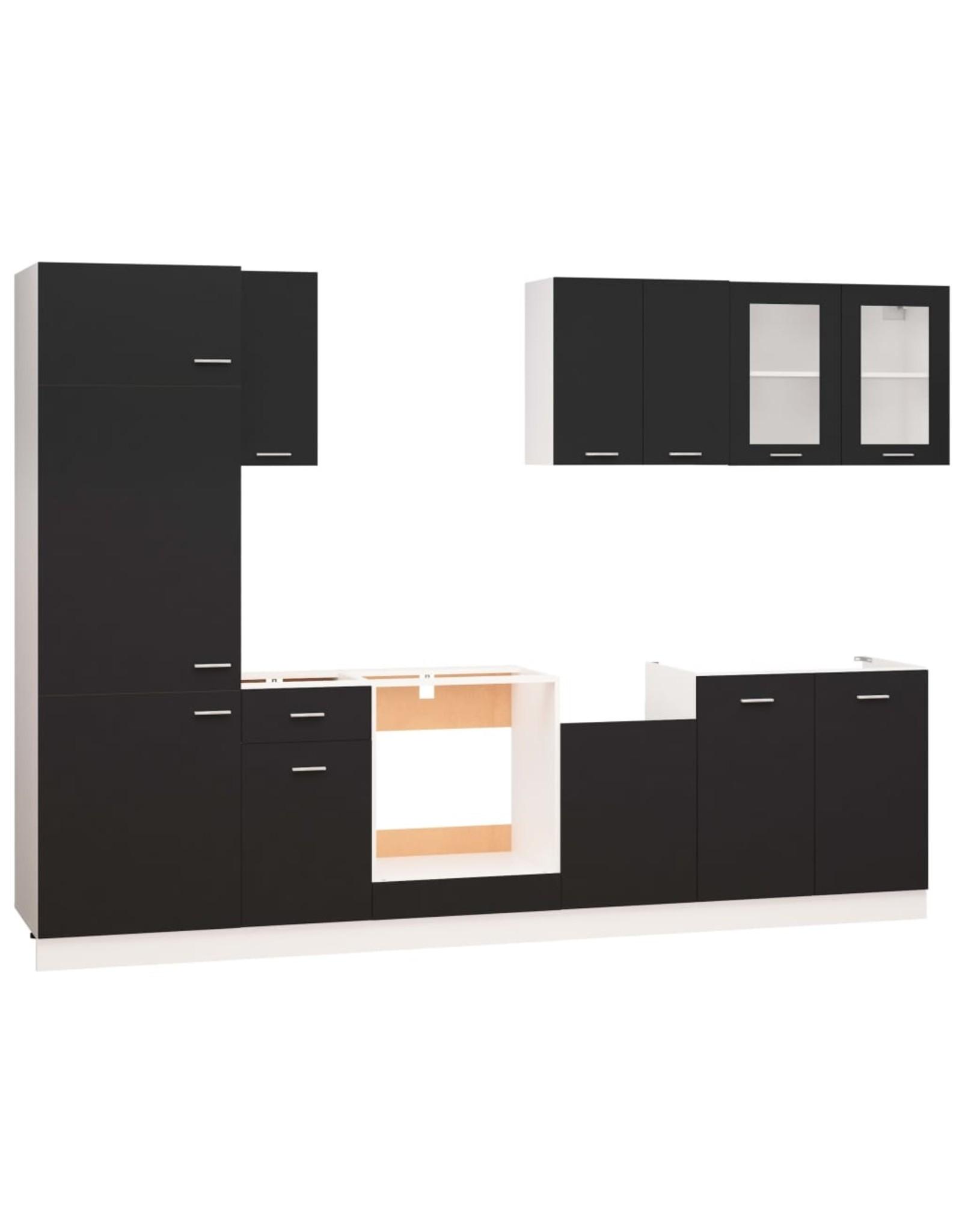 8-delige Keukenkastenset spaanplaat zwart