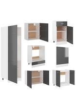 7-delige Keukenkastenset spaanplaat hoogglans grijs