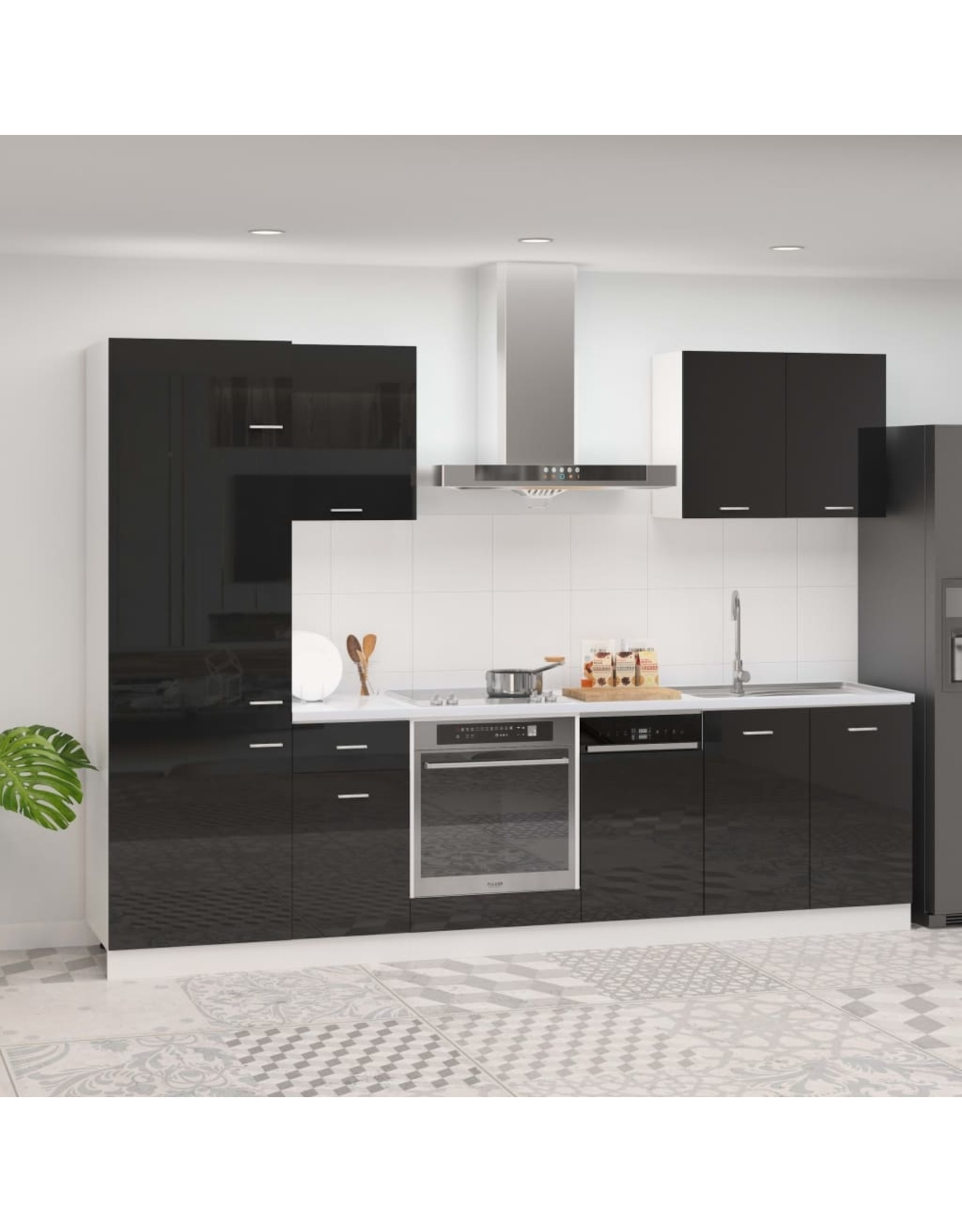 7-delige Keukenkastenset spaanplaat hoogglans zwart