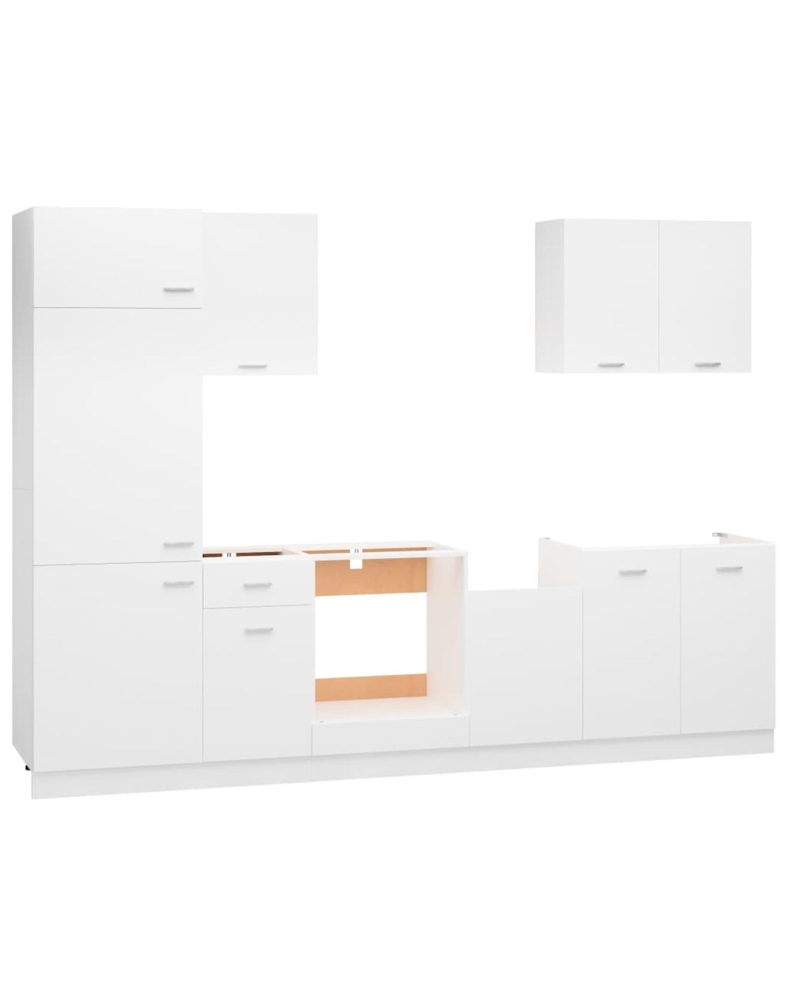 7-delige Keukenkastenset spaanplaat wit