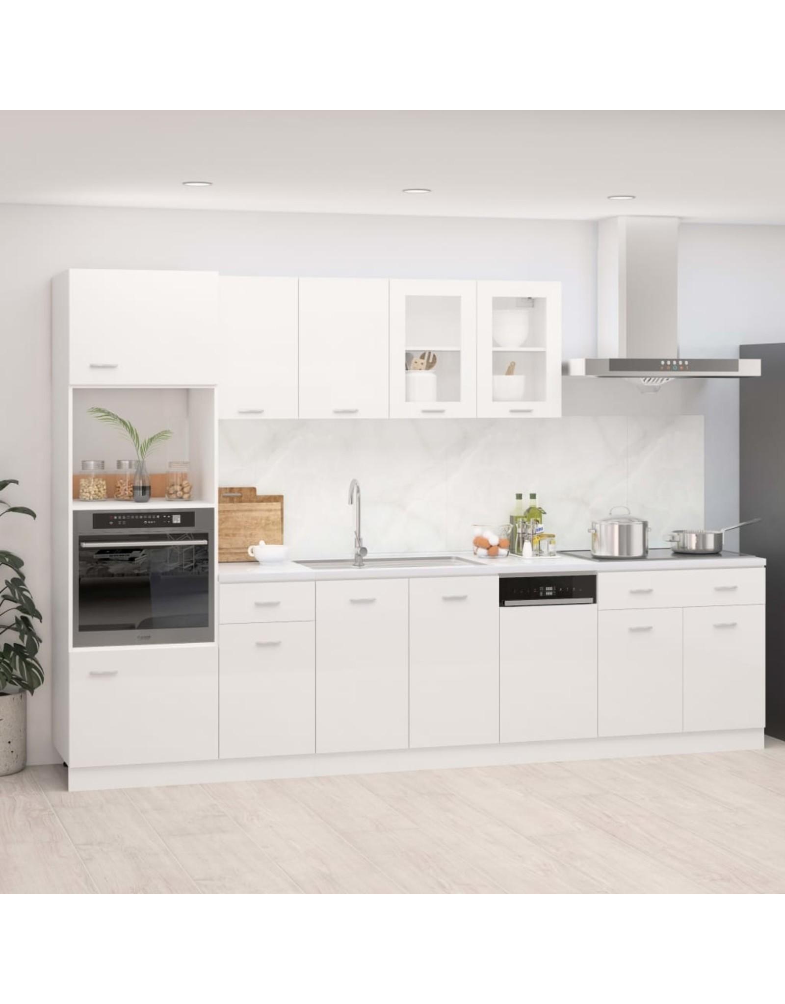 7-delige Keukenkastenset spaanplaat hoogglans wit