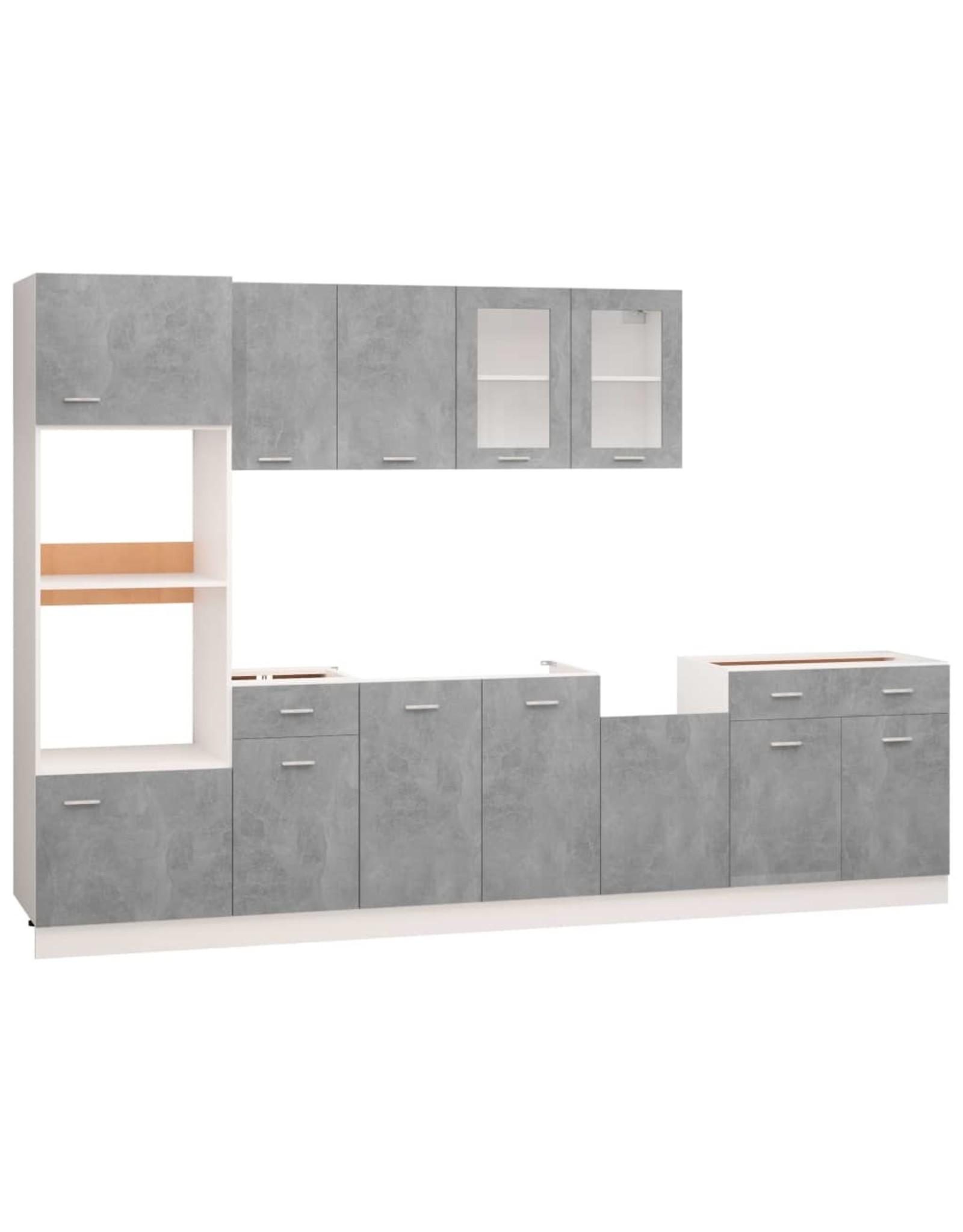 7-delige Keukenkastenset spaanplaat betongrijs