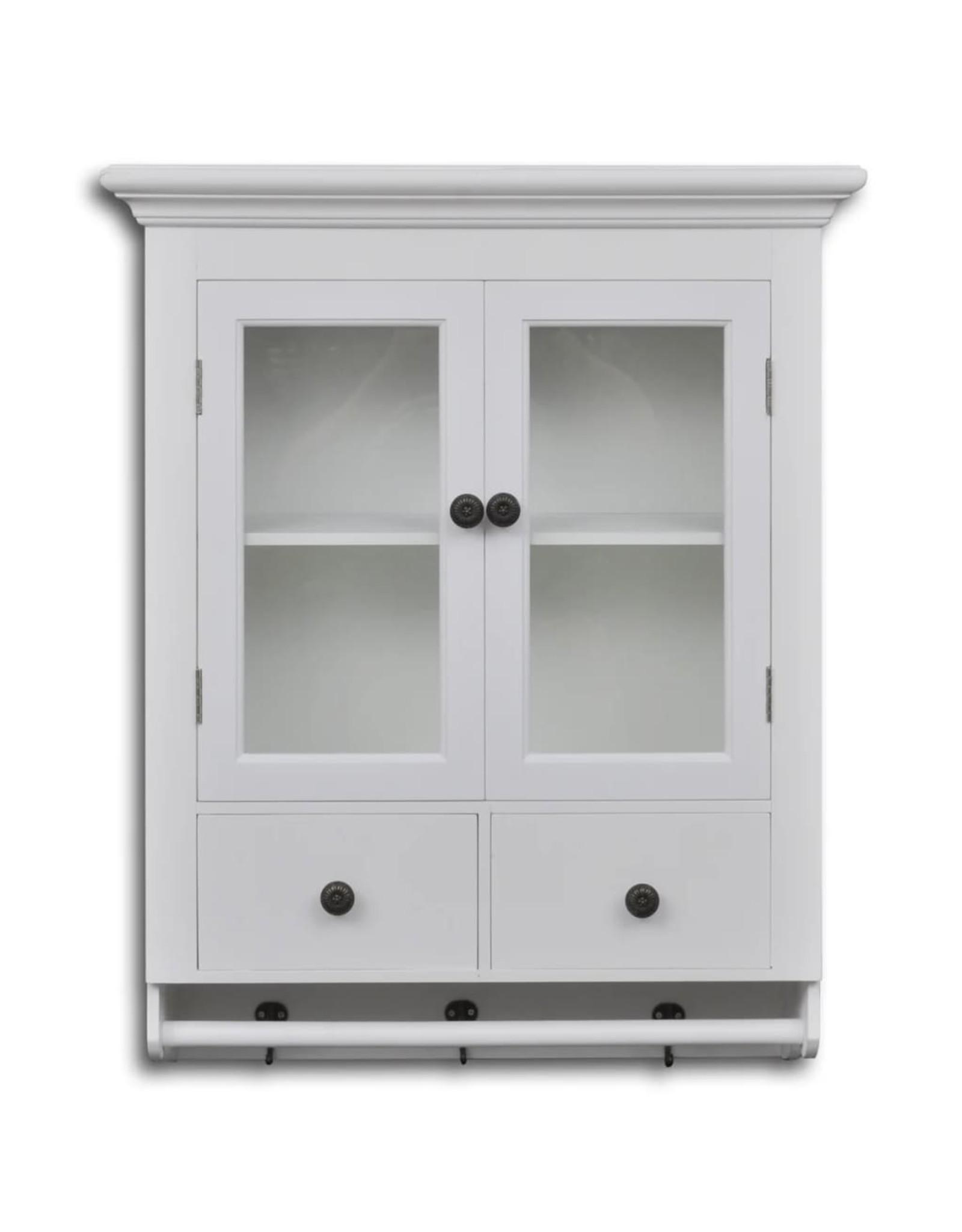 Keukenwandkast met glazen deur hout wit