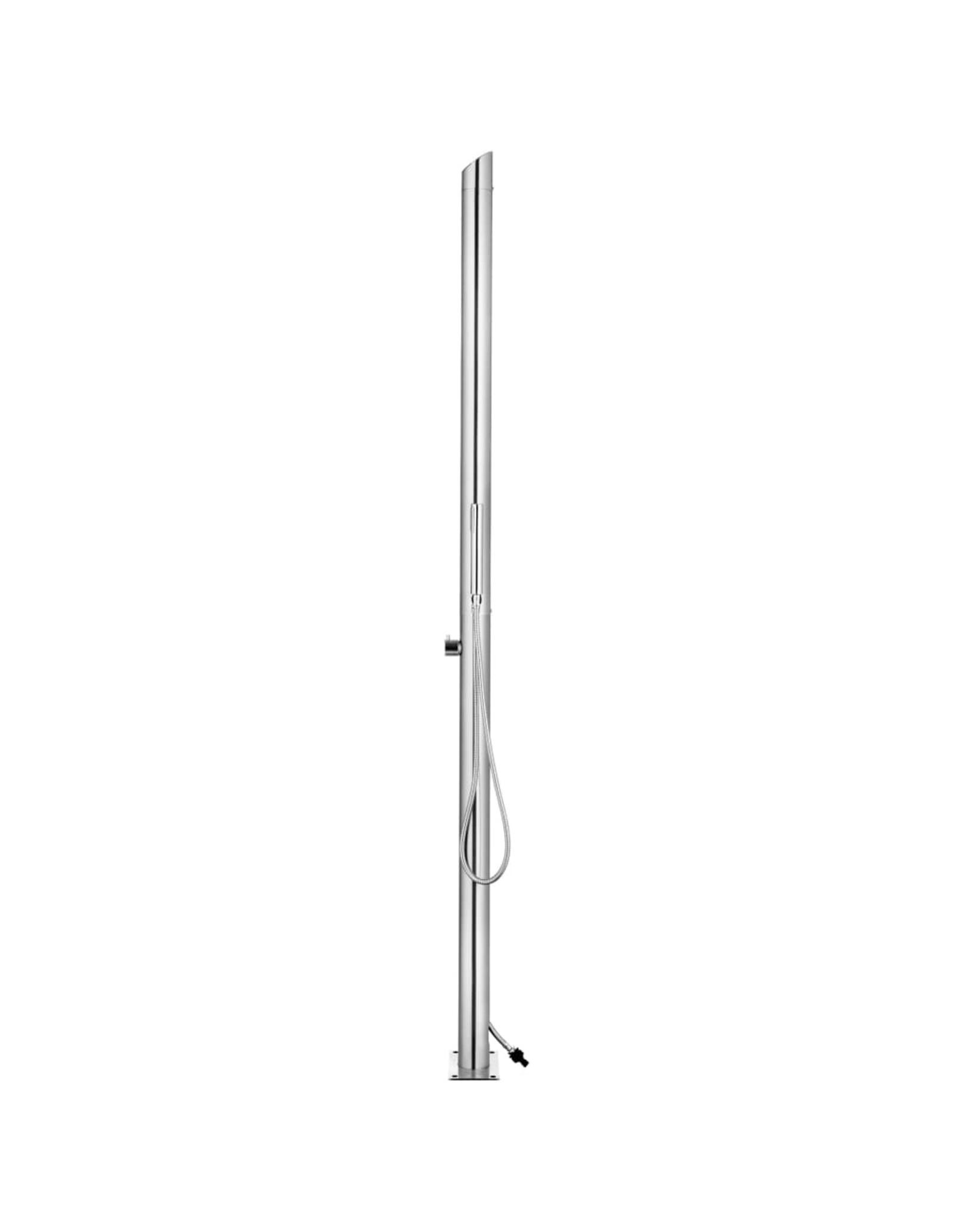Buitendouche met grijze basis 225 cm roestvrij staal